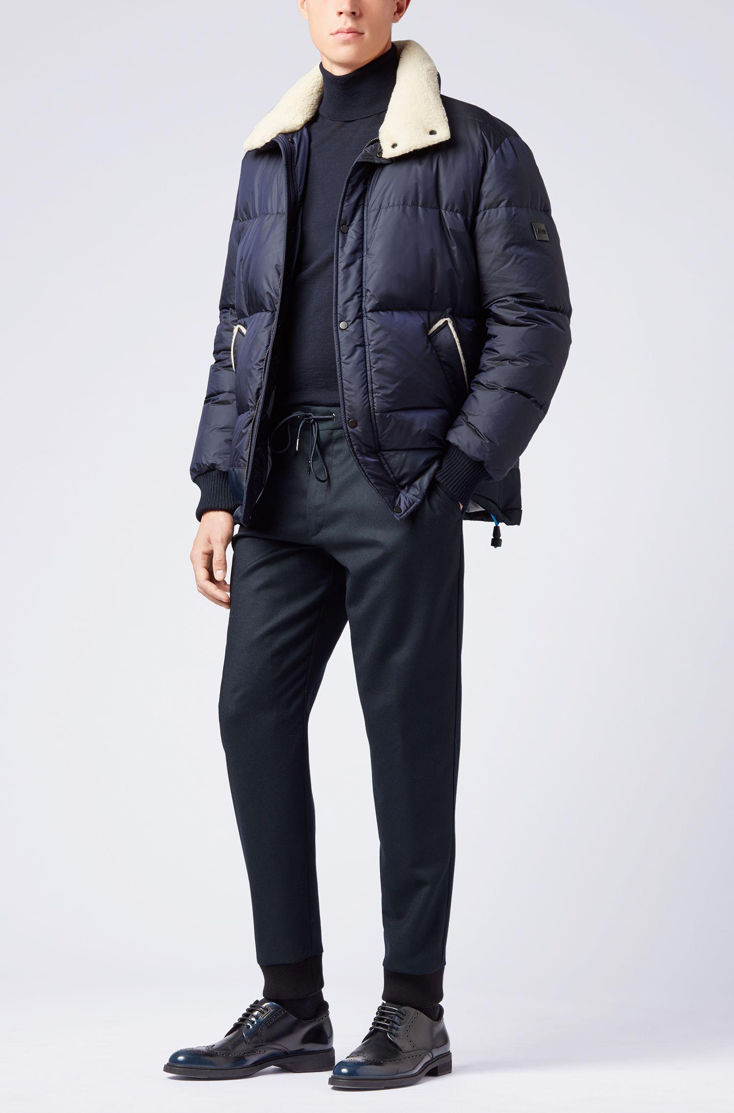 Maglione con colletto a tartaruga in pregiata lana merino realizzata in Italia, Blue Scuro