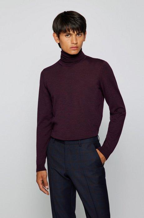 Turtleneck sweater in extra-fine Italian merino wool, Purple