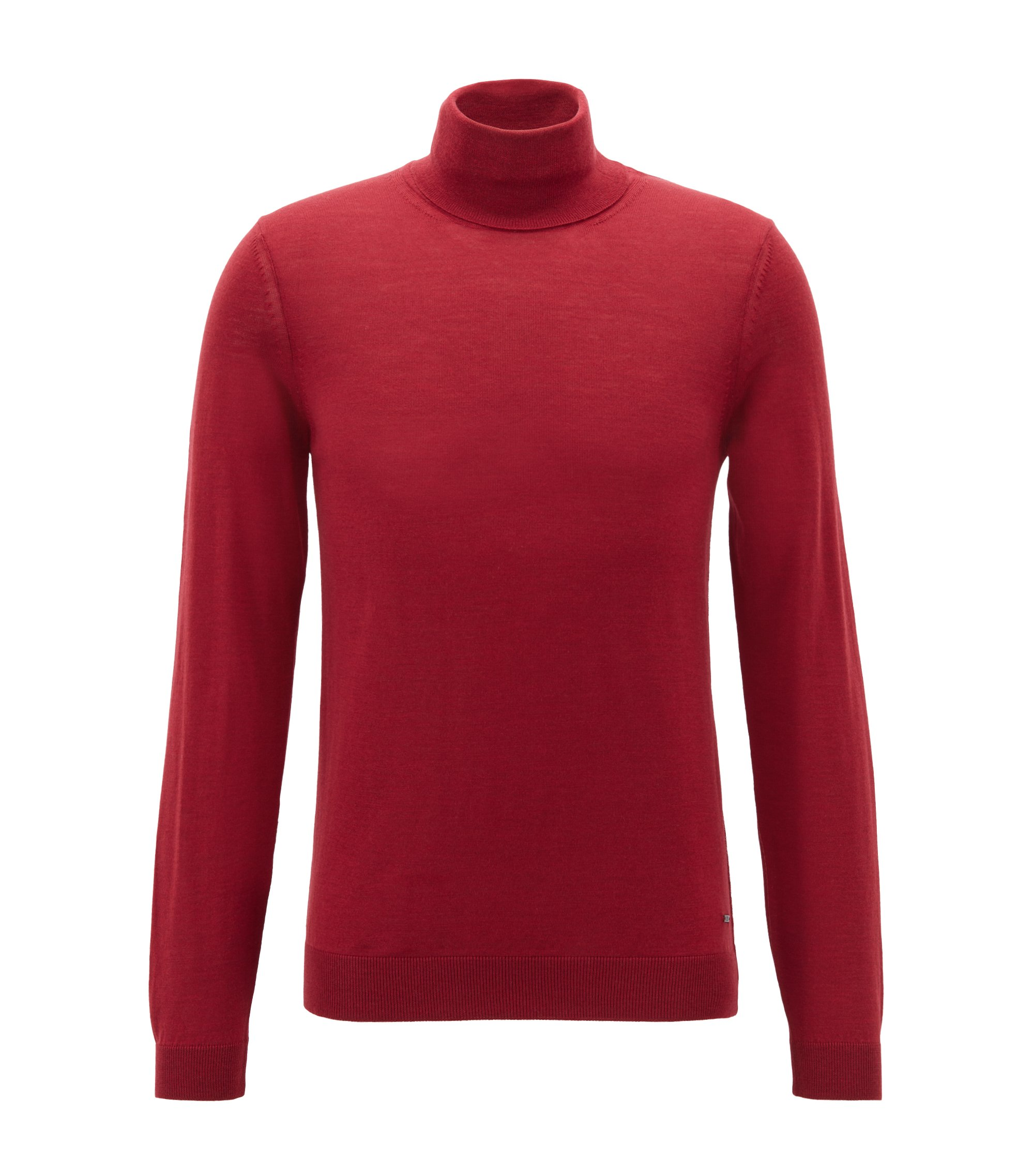 Turtleneck sweater in extra-fine Italian merino wool, Dark Red