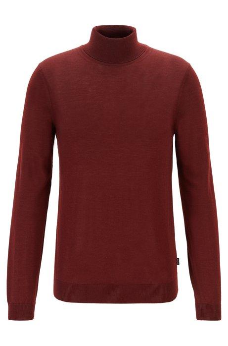 Jersey de cuello alto en lana de merino italiana extrafina, Rojo oscuro