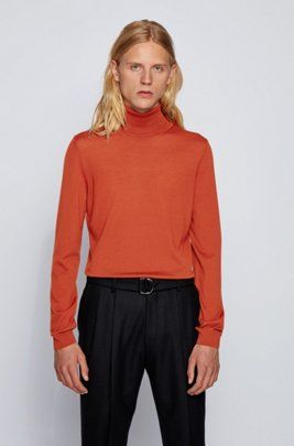 Turtleneck sweater in extra-fine Italian merino wool, Light Orange