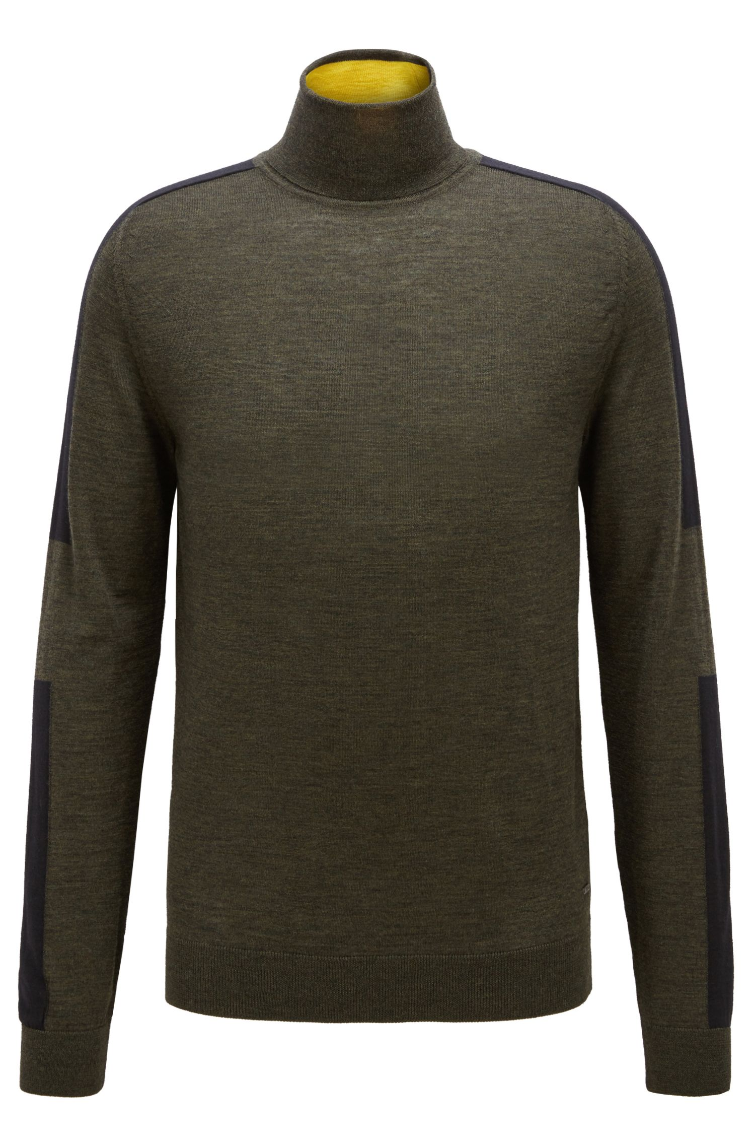 Turtleneck sweater in Italian merino wool with colour-blocking