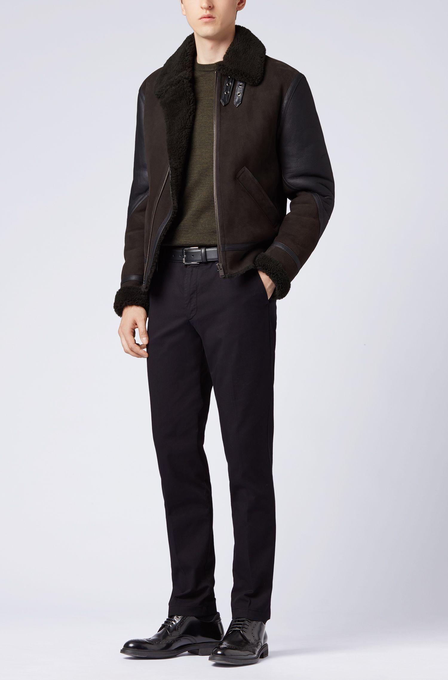 Colour-Block-Pullover aus extrafeiner italienischer Merinowolle