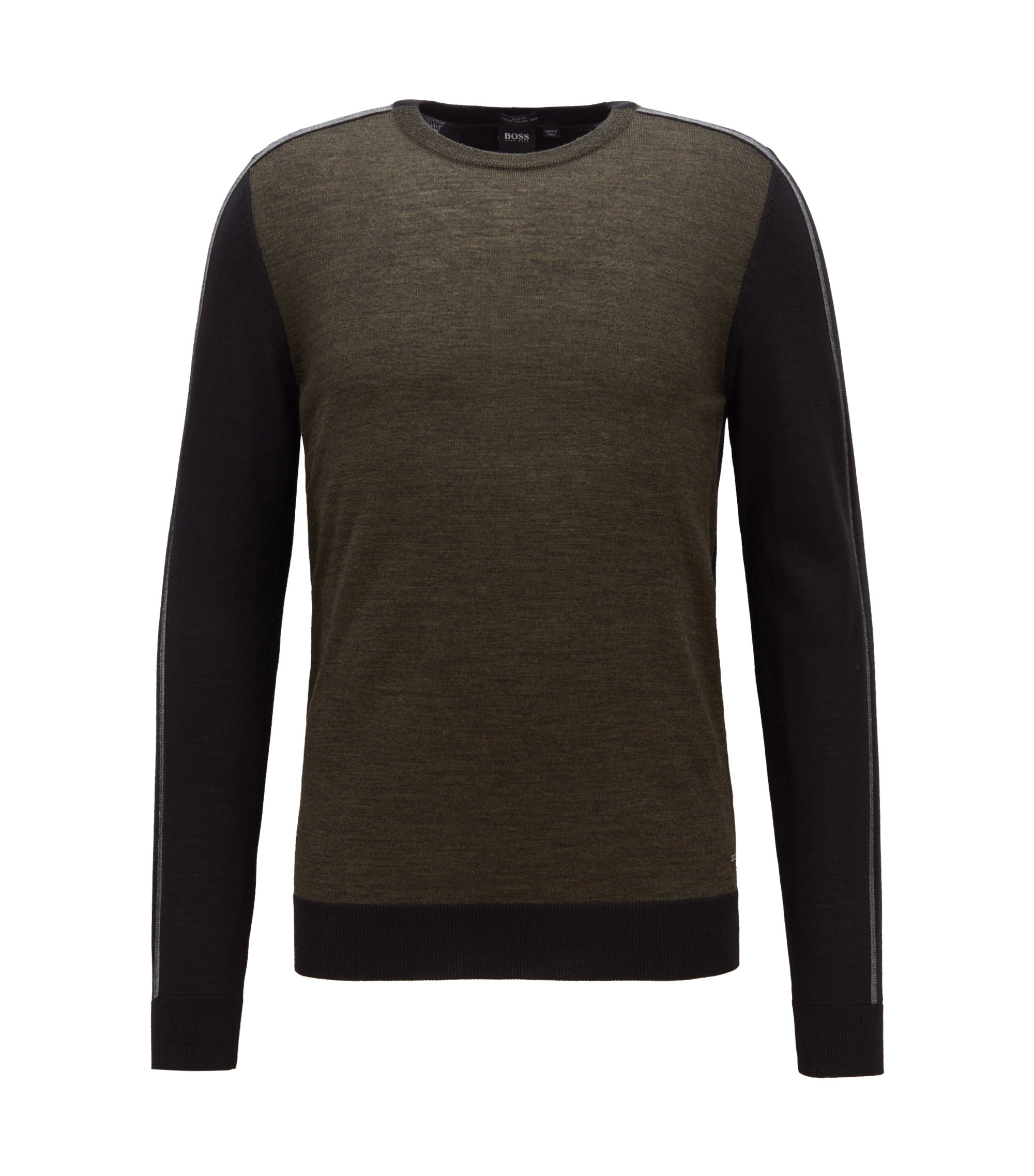 Colour-block sweater in extra-fine Italian merino wool, Green