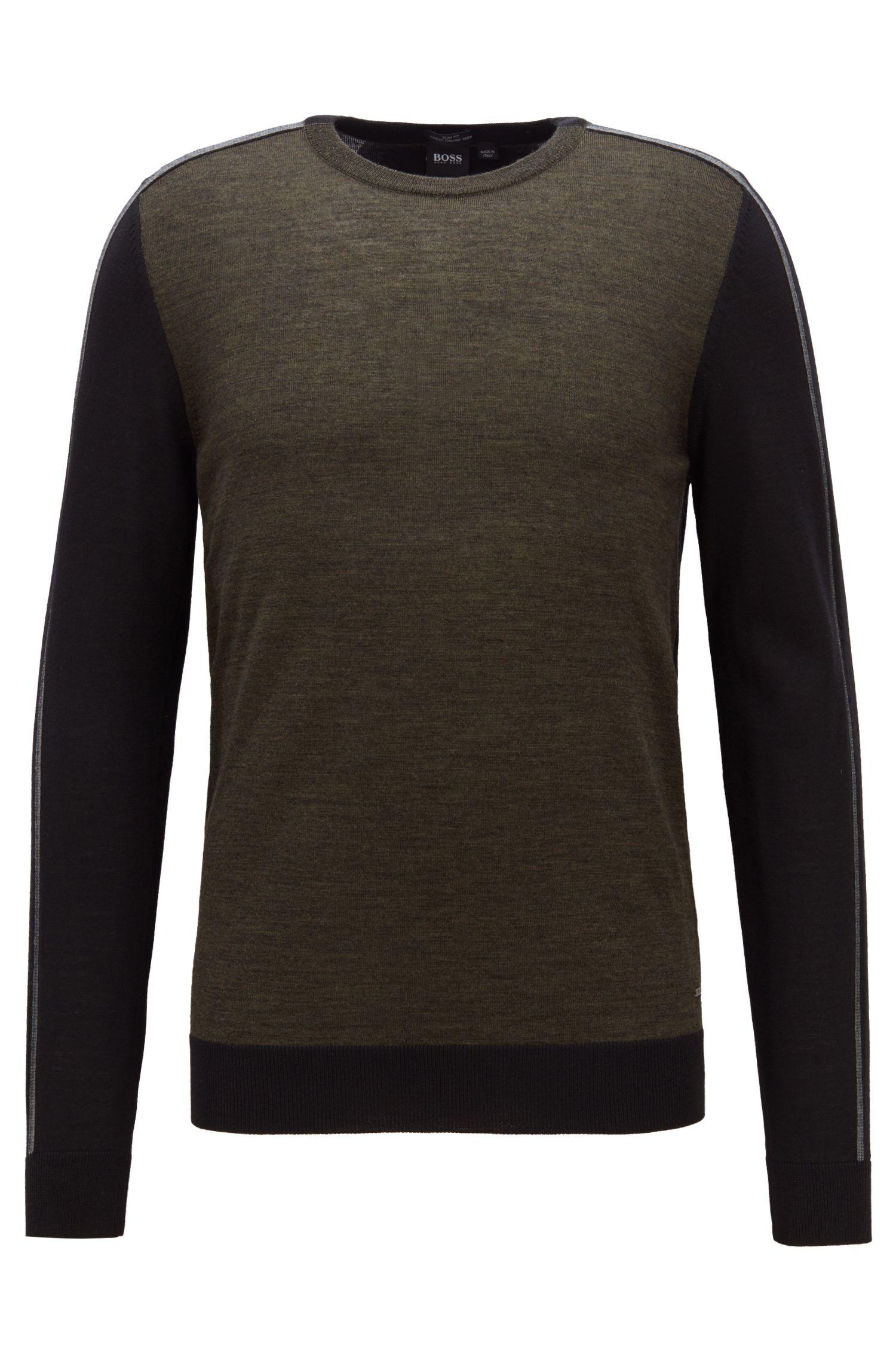 Jersey en lana de merino italiana extrafina con bloques de color, Verde