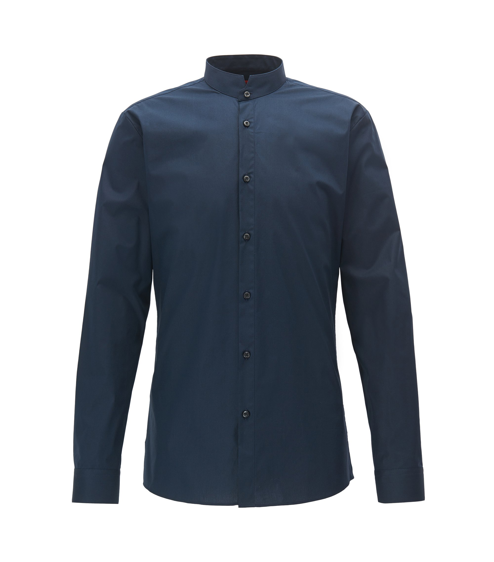 Extra Slim-fit stretch-cotton shirt with stand collar, Dark Blue
