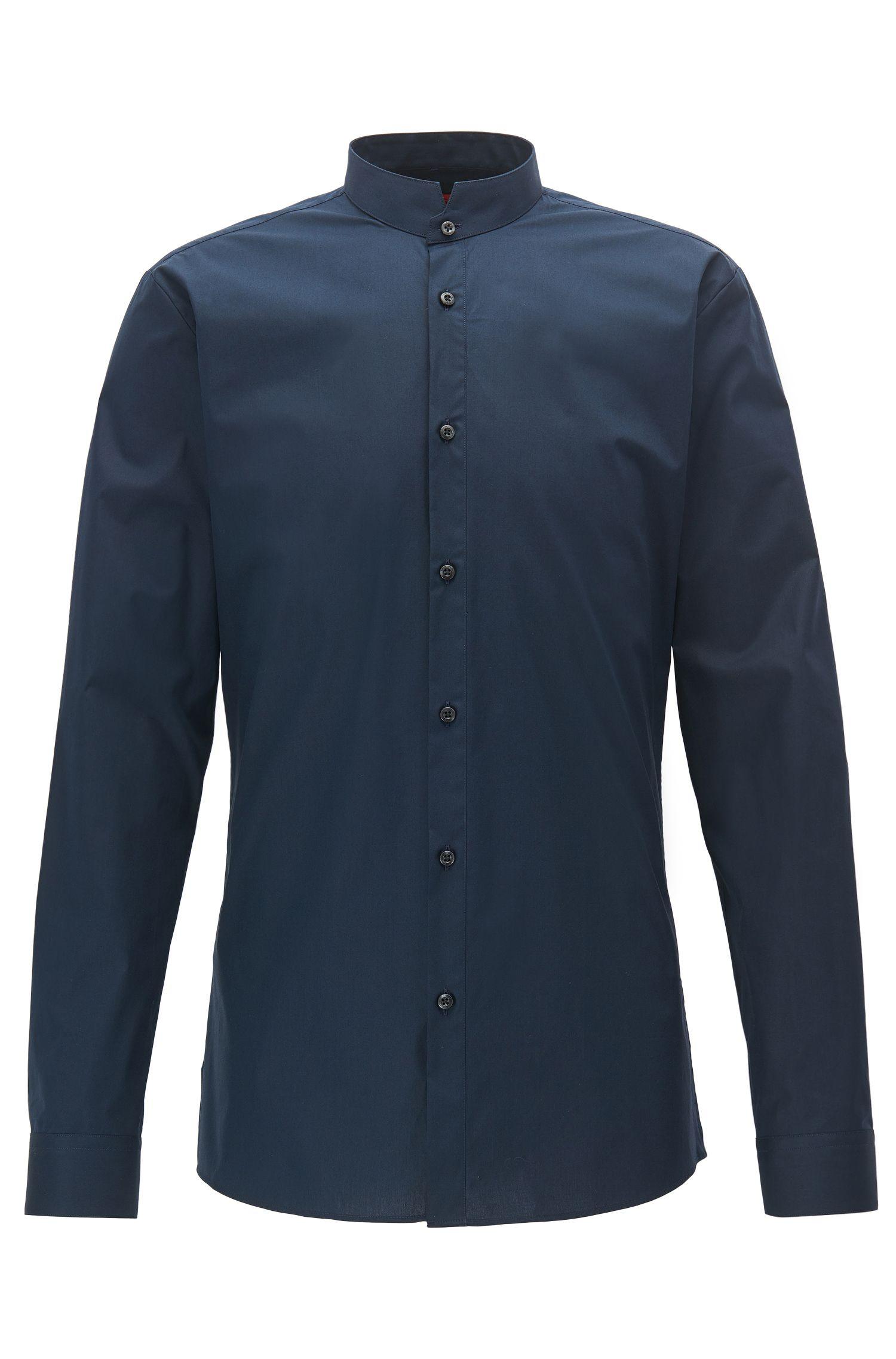 Extra Slim-Fit Hemd aus Stretch-Baumwolle mit Stehkragen
