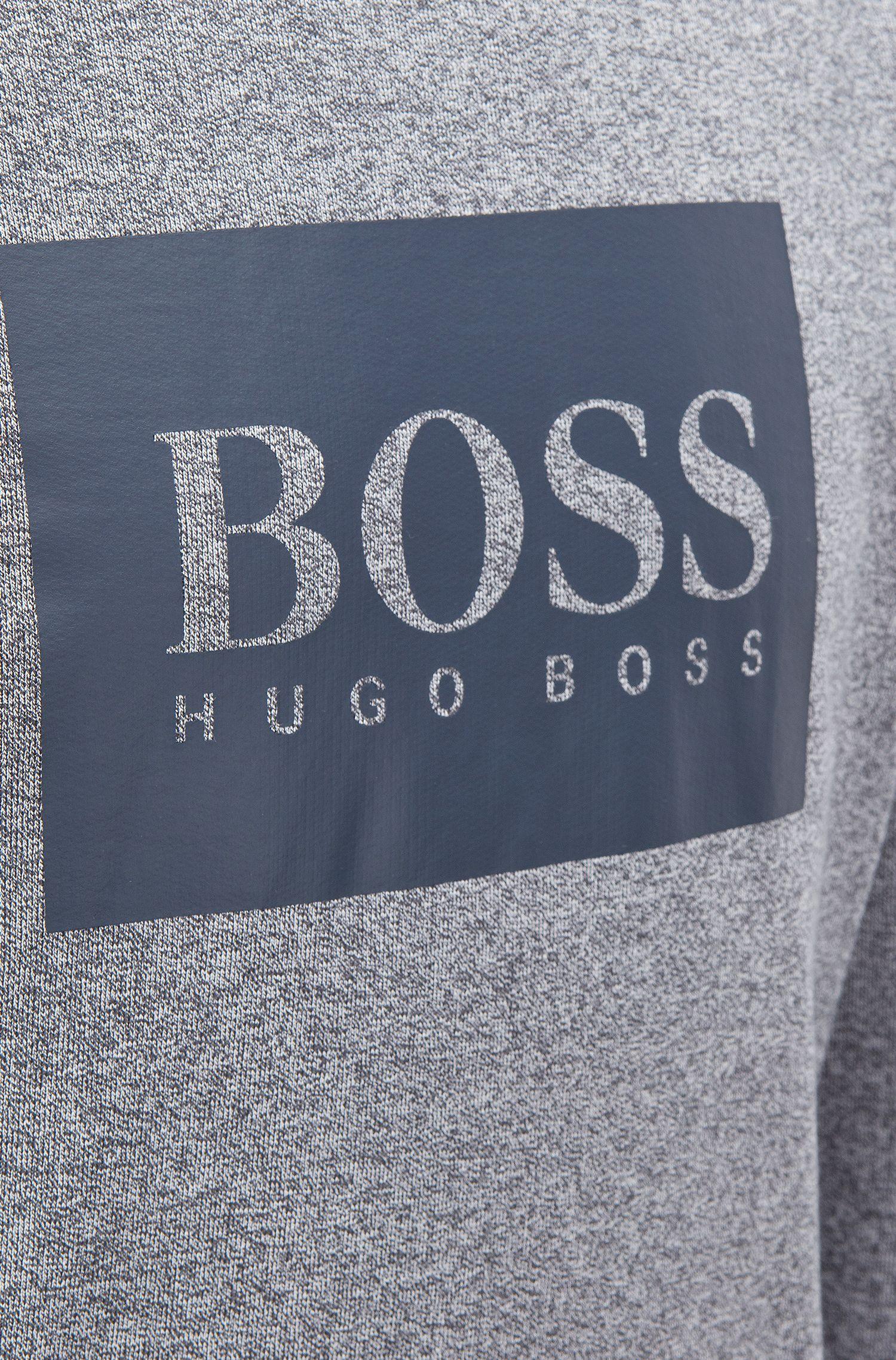 Sudadera loungewear con capucha en felpa de algodón de 2colores, Gris