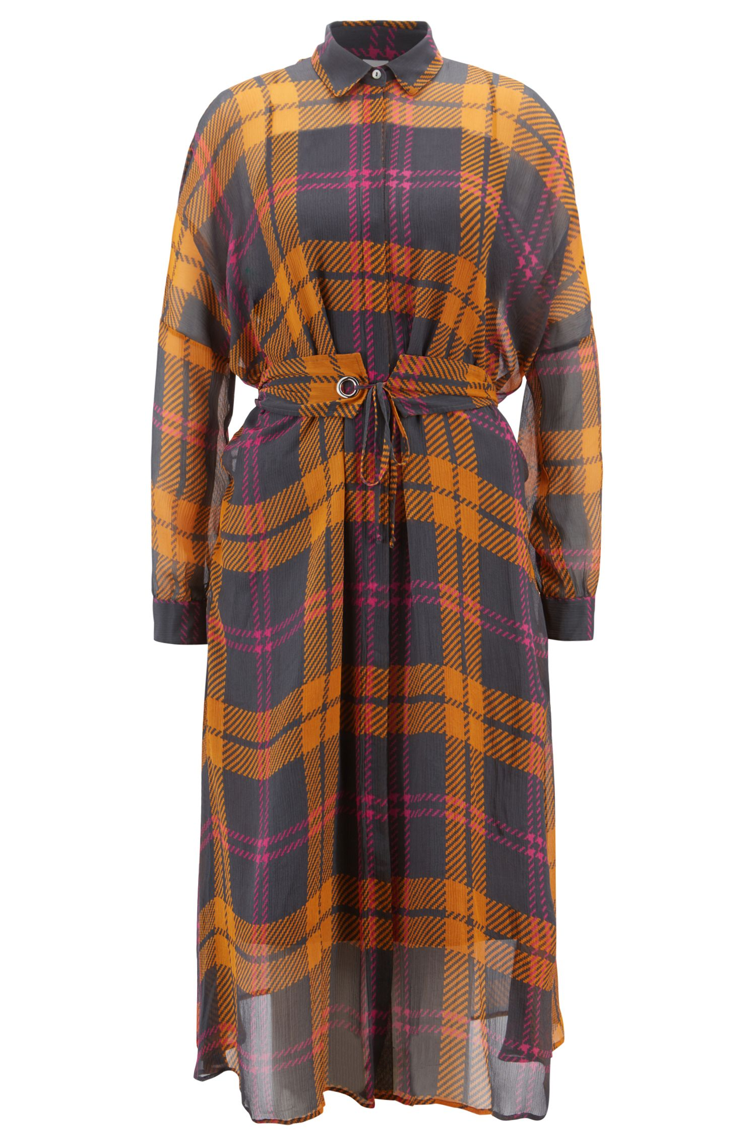 Checked-silk shirt dress with self-fabric belt, Patterned