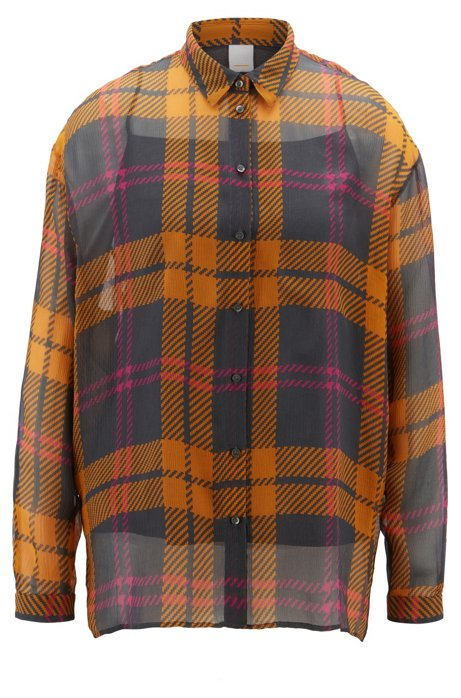 Oversized-fit blouse in checked silk crepe, Patterned