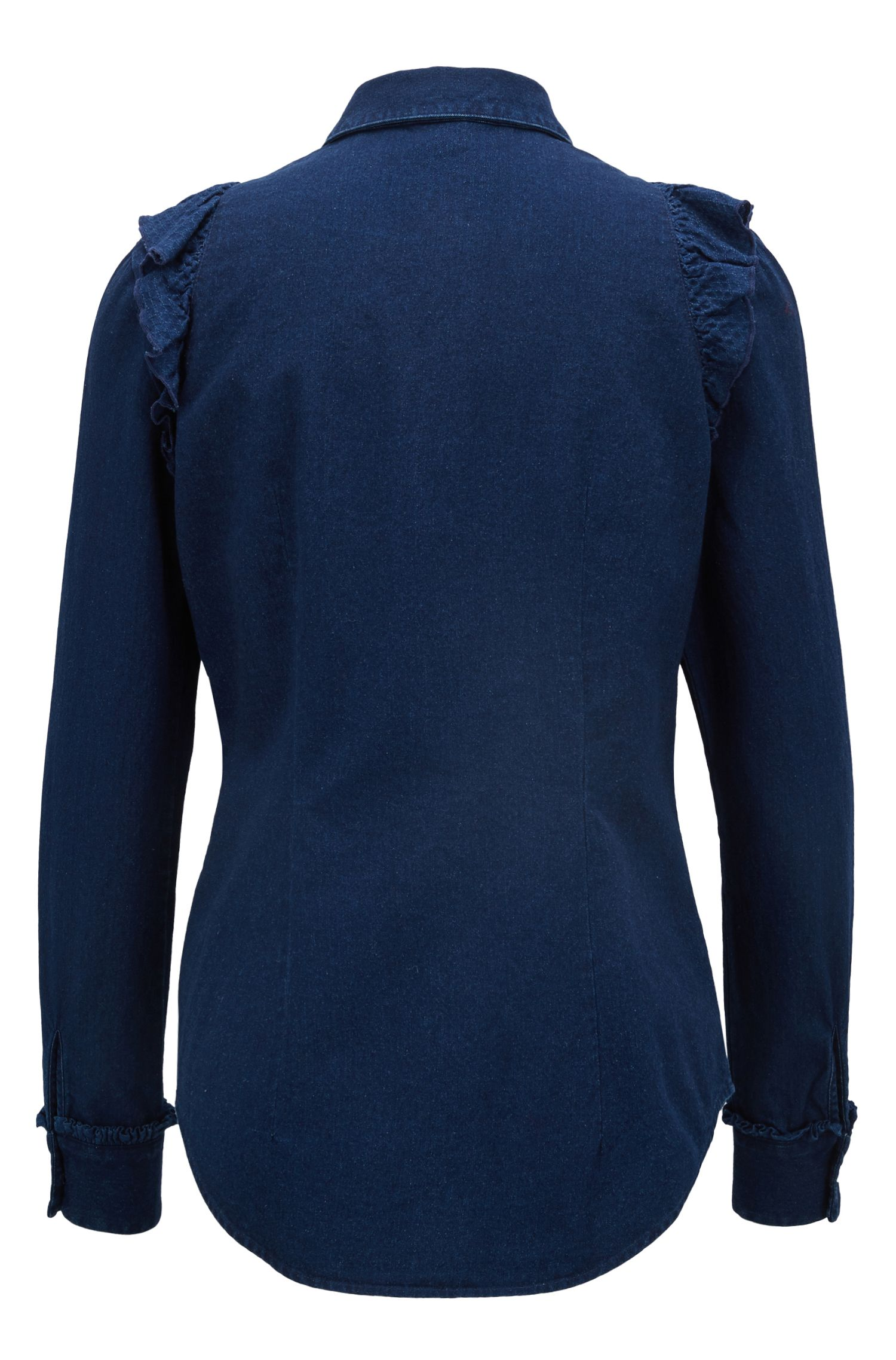 Regular-fit blouse in indigo denim with ruched plastron, Dark Blue