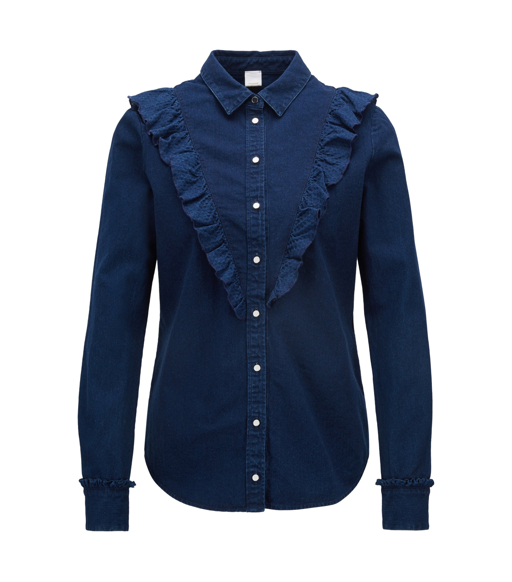 Camicetta regular fit in denim indaco con ruche sul davanti, Blu scuro