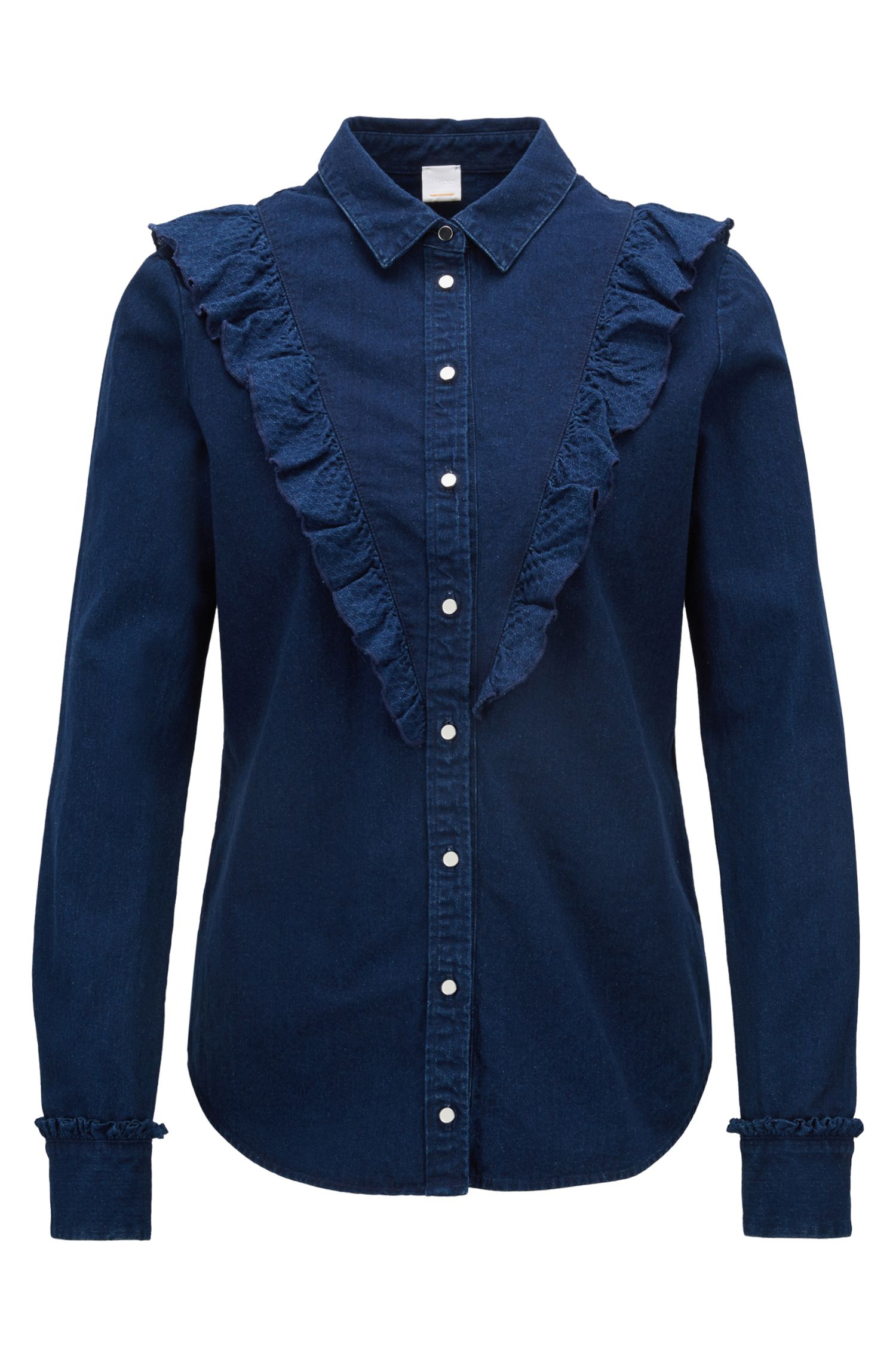 Regular-fit blouse van indigo denim met V-vormige ruches