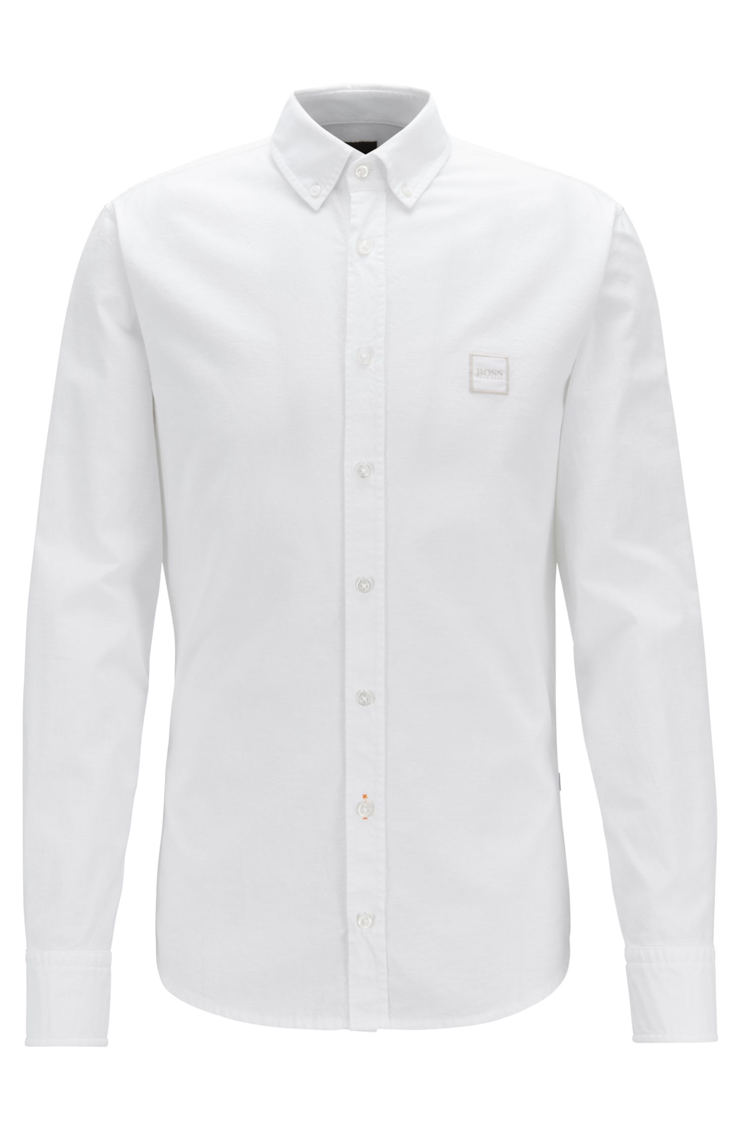 Camicia slim fit con colletto button-down in cotone manopesca, Bianco