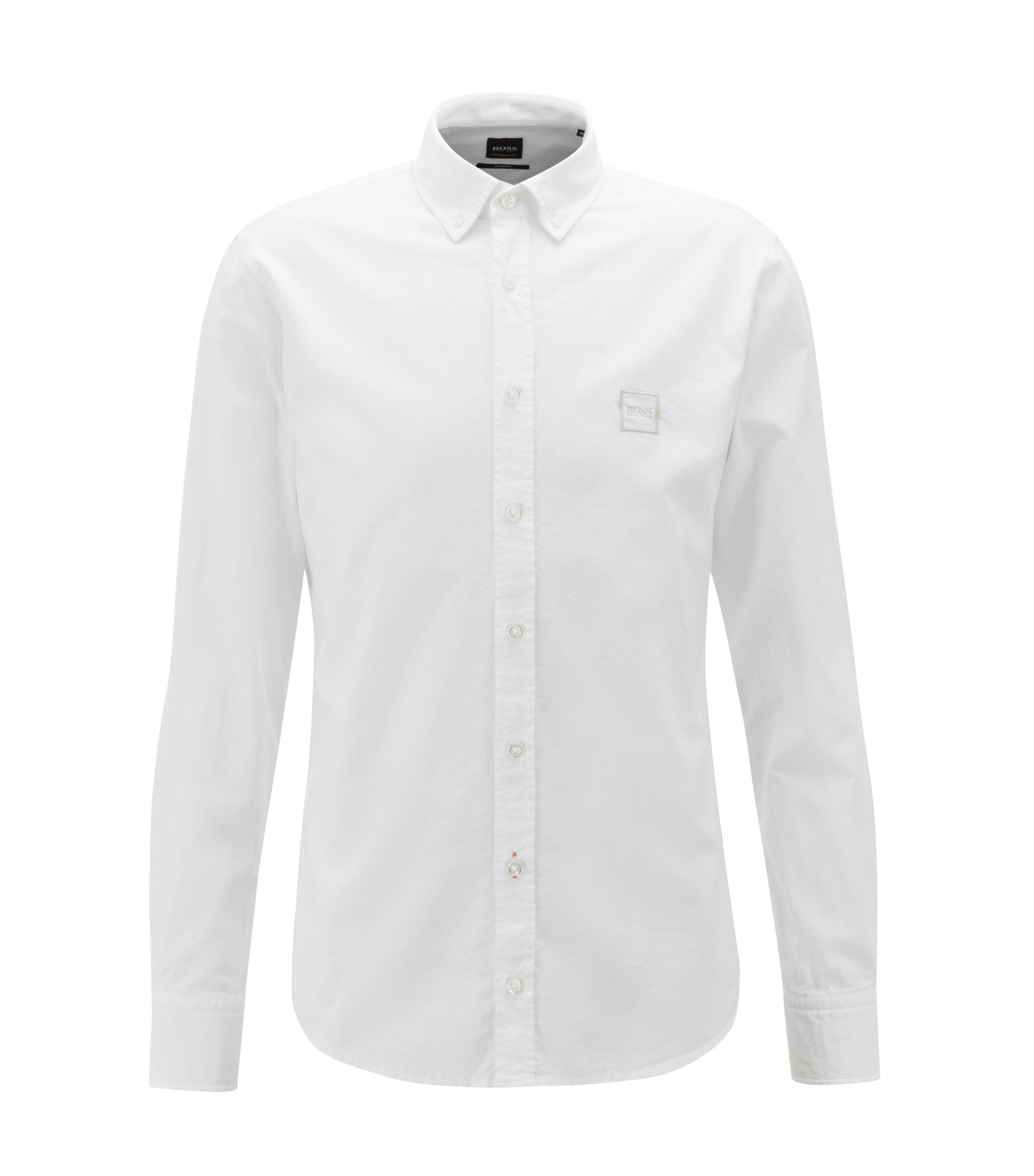 Camicia slim fit con colletto button-down in cotone manopesca, Bianco