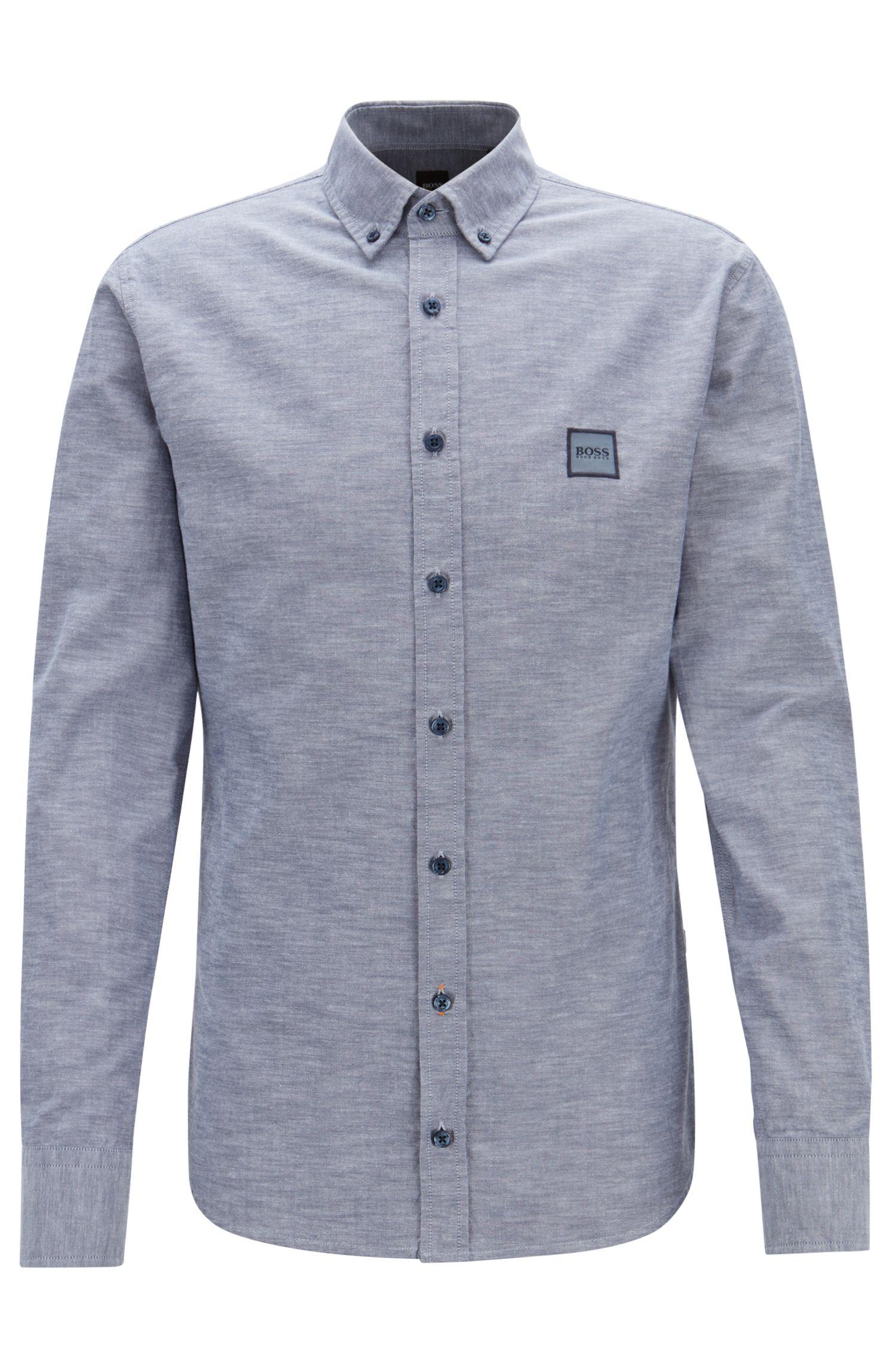 Slim-Fit Hemd aus angerauter Baumwolle mit Button-Down-Kragen, Dunkelblau