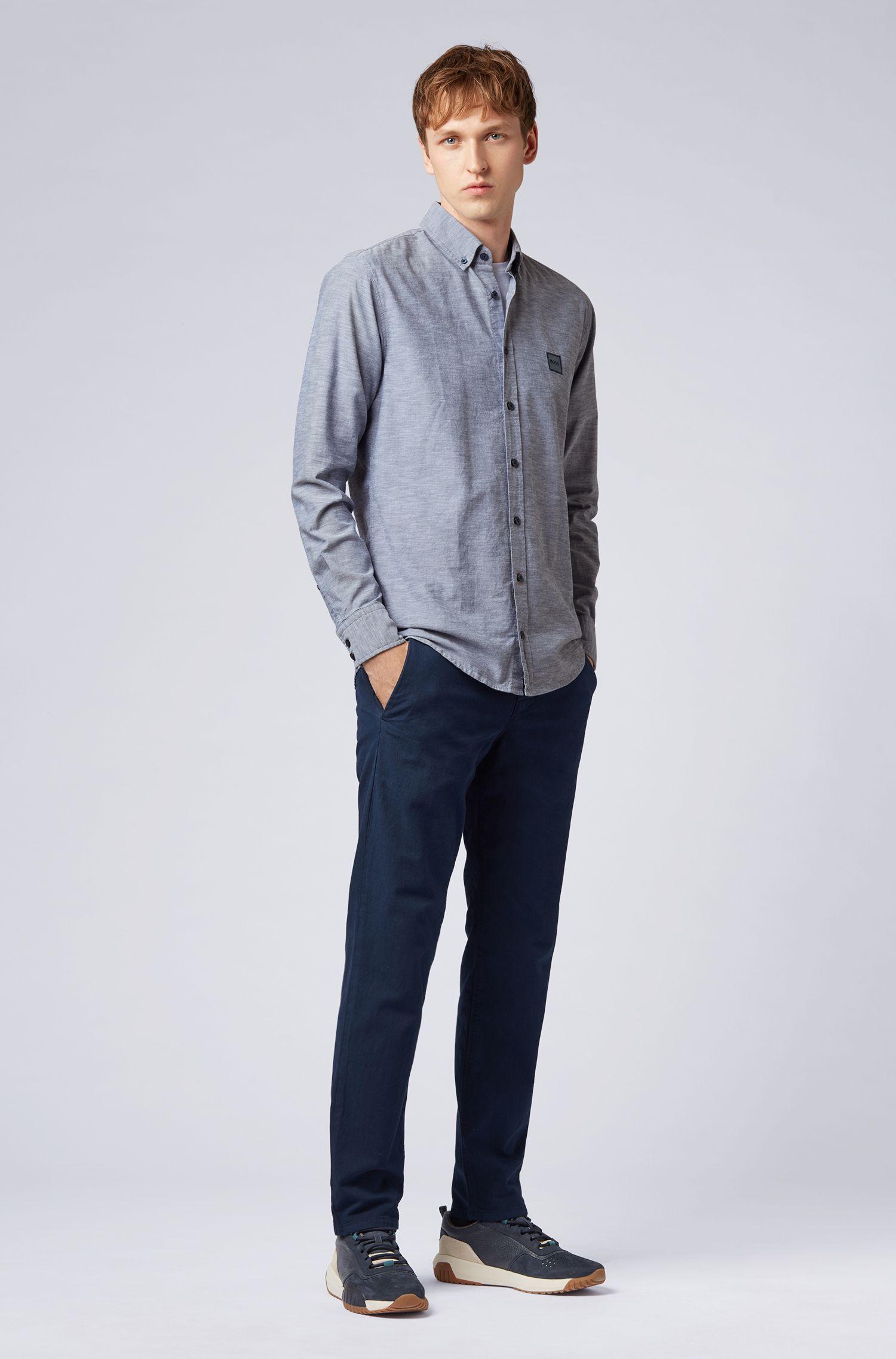 Camicia slim fit con colletto button-down in cotone manopesca, Blu scuro