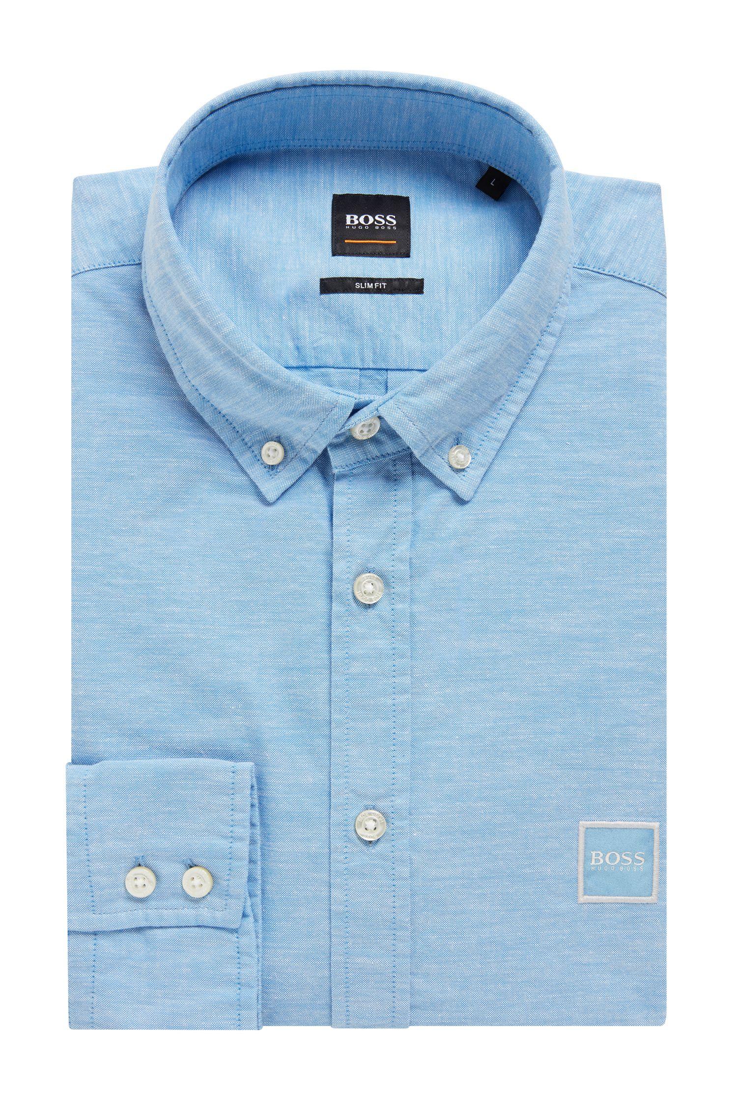 Slim-Fit Hemd aus angerauter Baumwolle mit Button-Down-Kragen, Hellblau