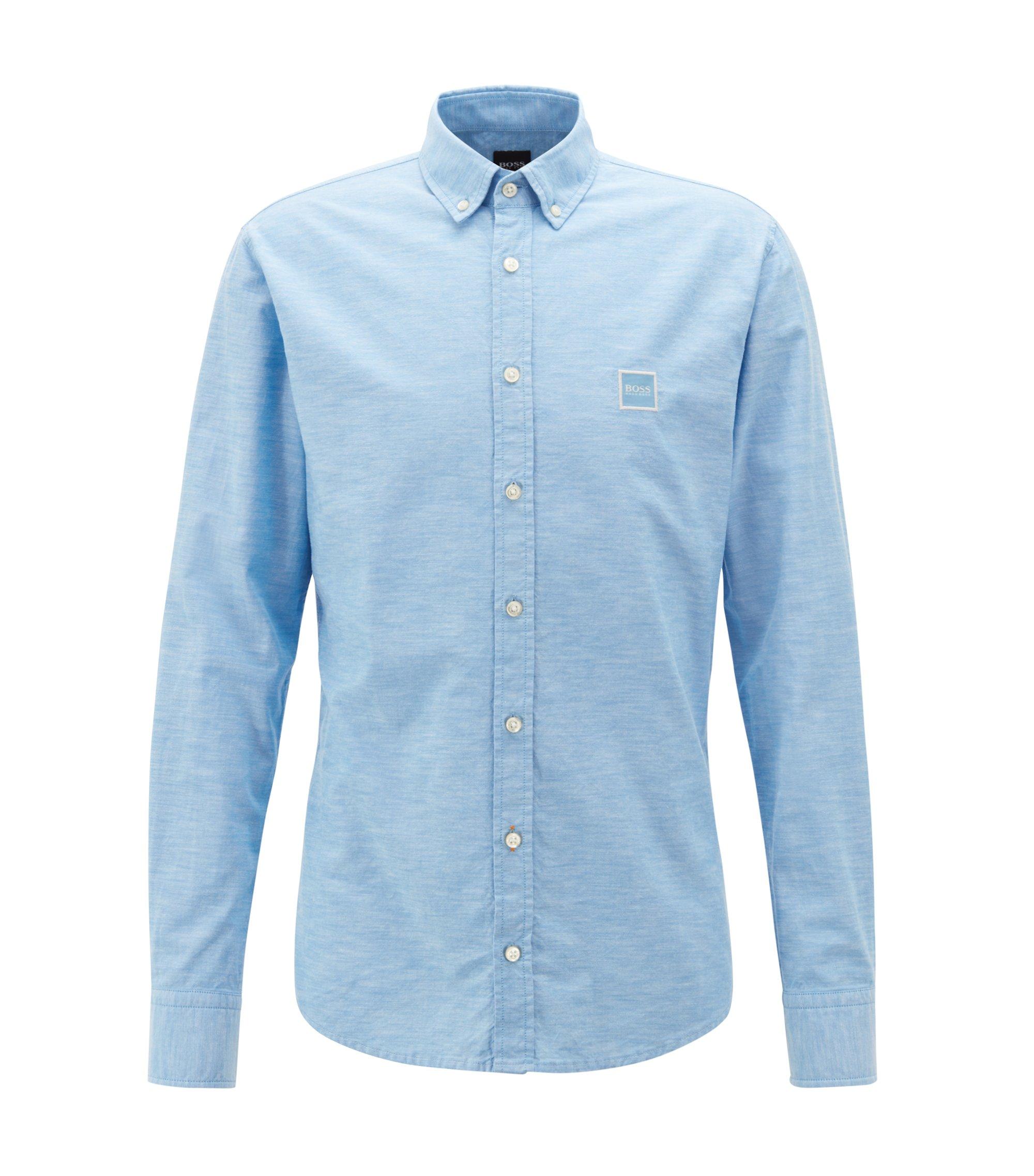 Camicia slim fit con colletto button-down in cotone manopesca, Celeste