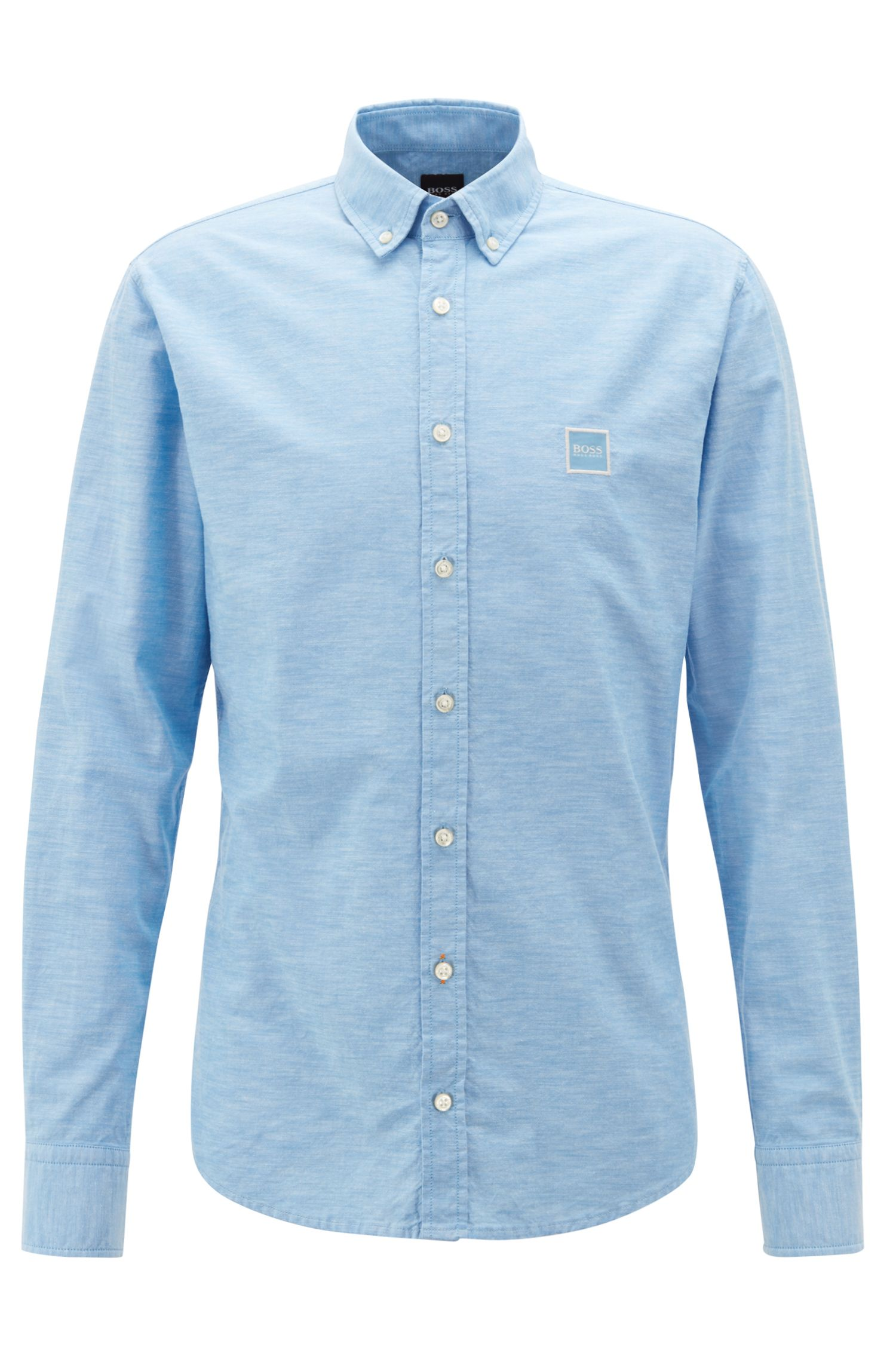 Slim-fit shirt with button-down collar in peached cotton, Light Blue