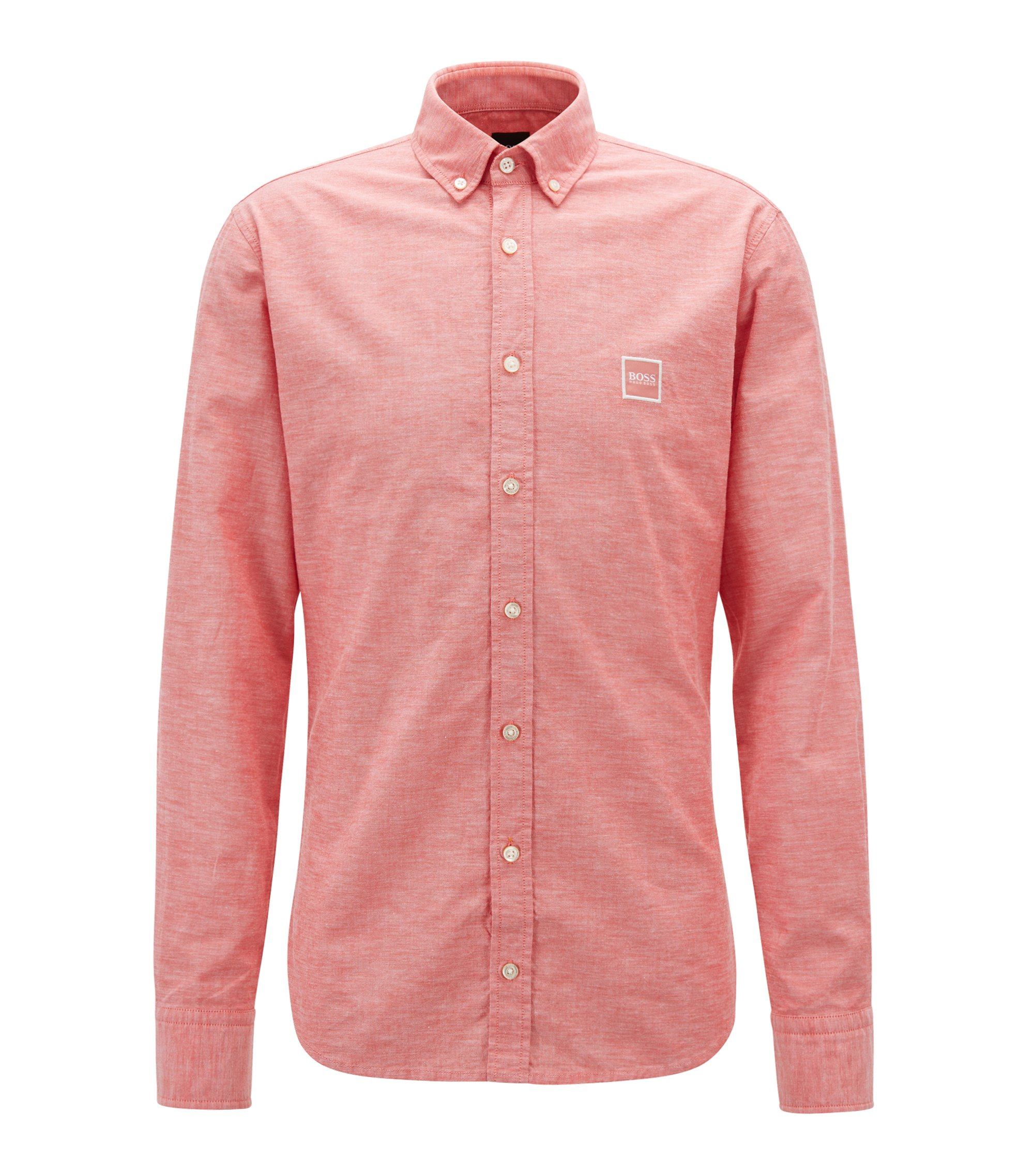 Slim-Fit Hemd aus angerauter Baumwolle mit Button-Down-Kragen, Rot