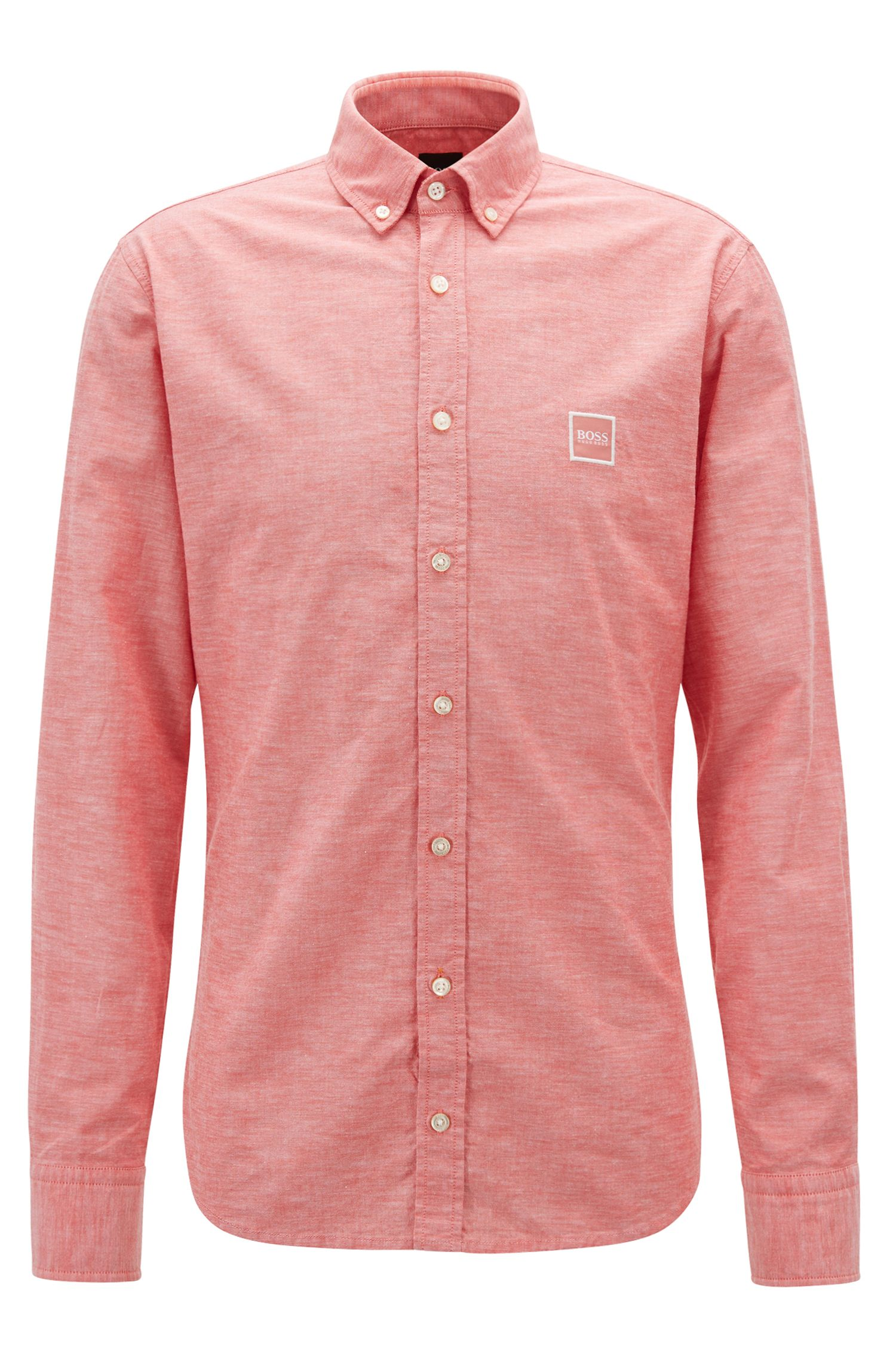 Slim-fit shirt with button-down collar in peached cotton, Red