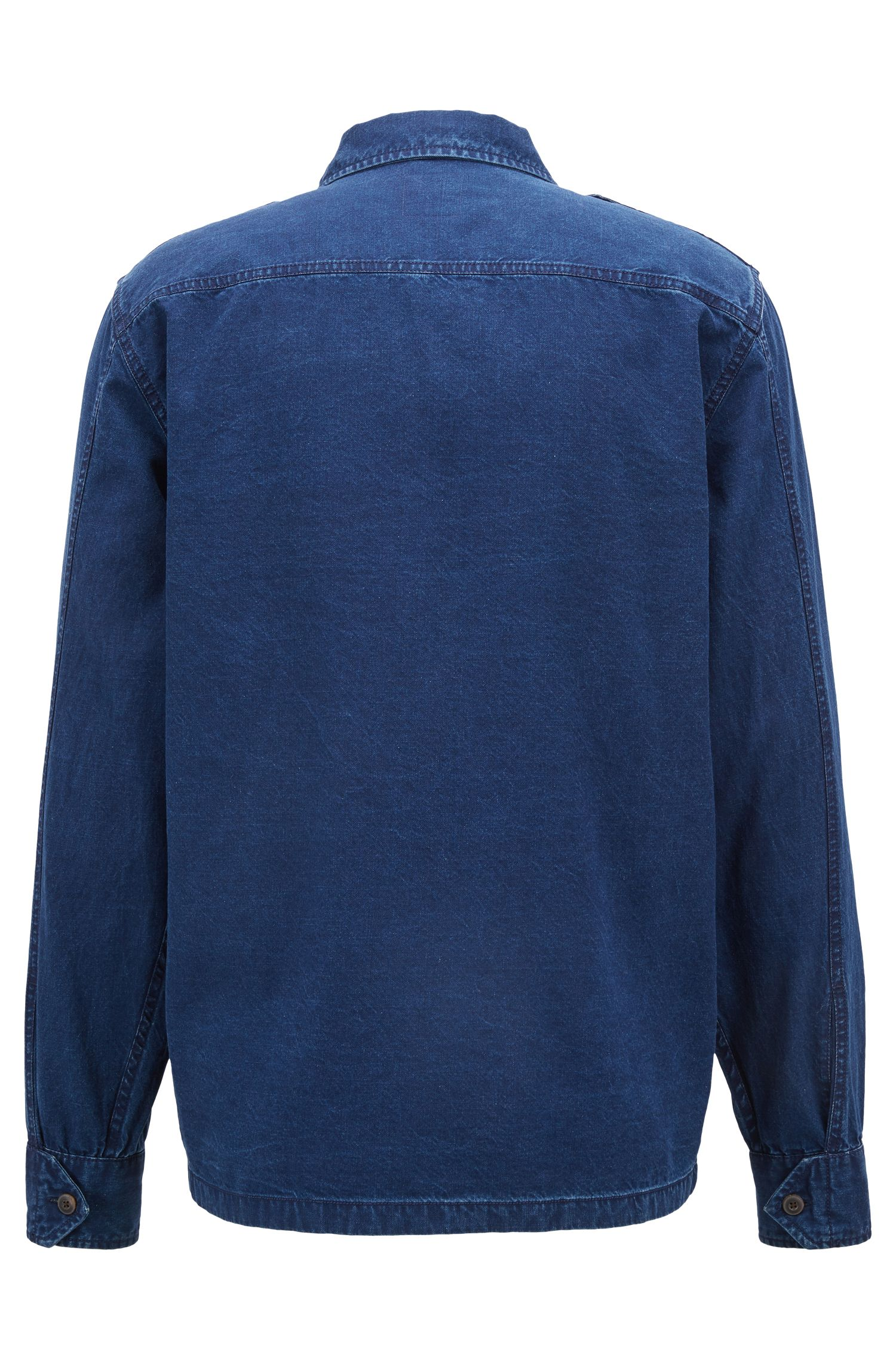 Oversized-fit shirt in a bleach-washed cotton blend , Dark Blue