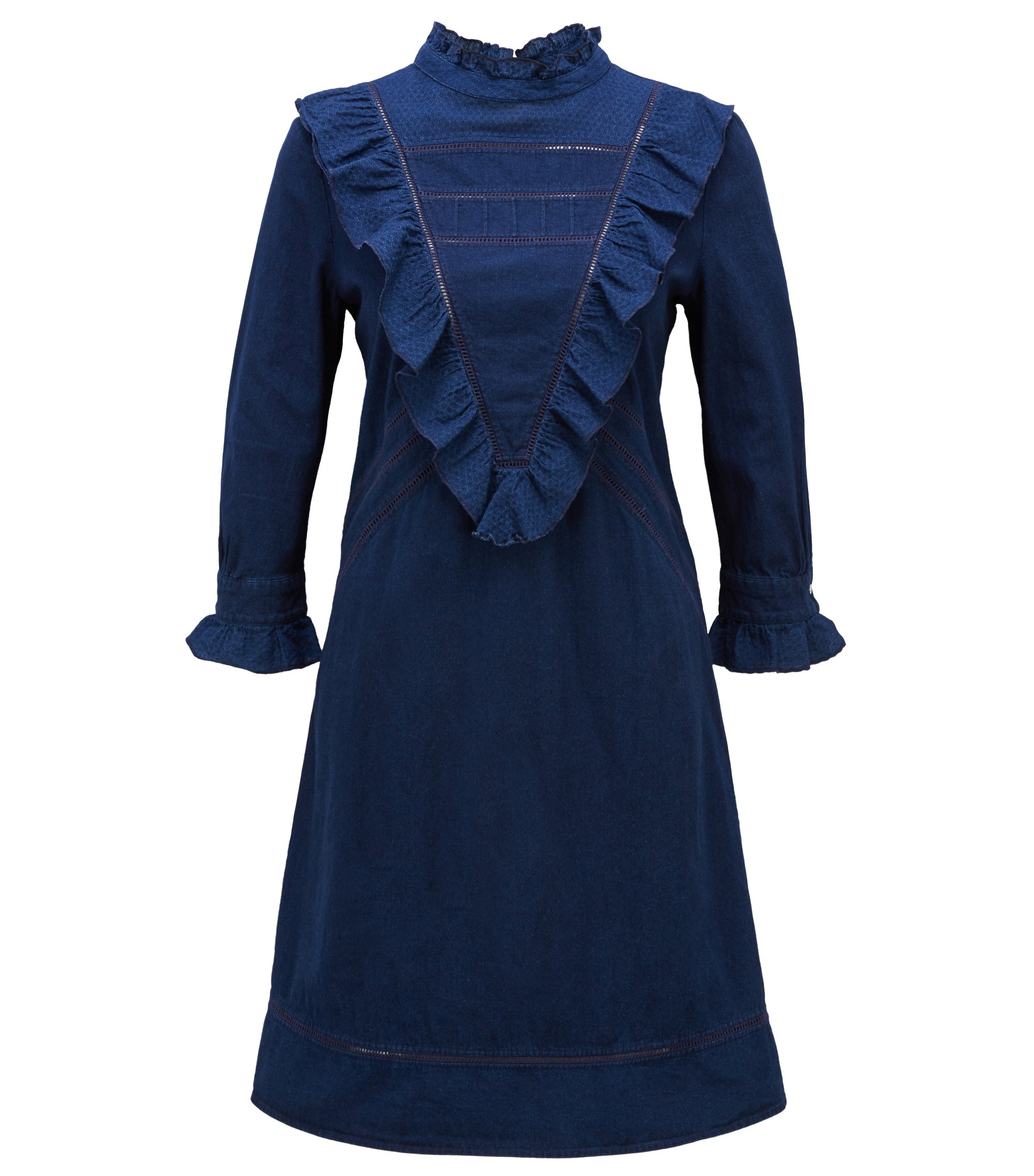 Long-sleeved dress in indigo denim with V-shaped plastron, Dark Blue