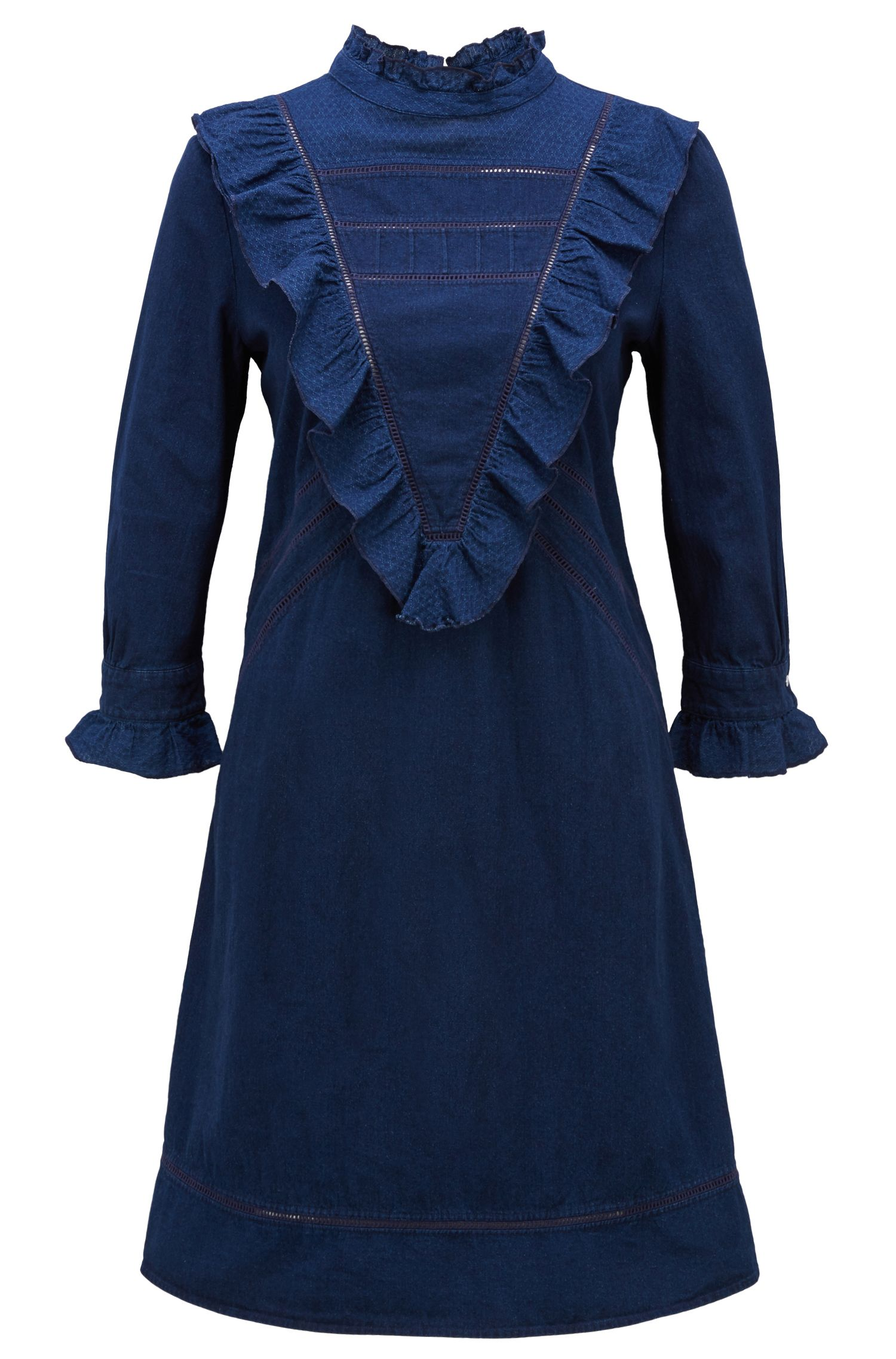 Long-sleeved dress in indigo denim with V-shaped plastron