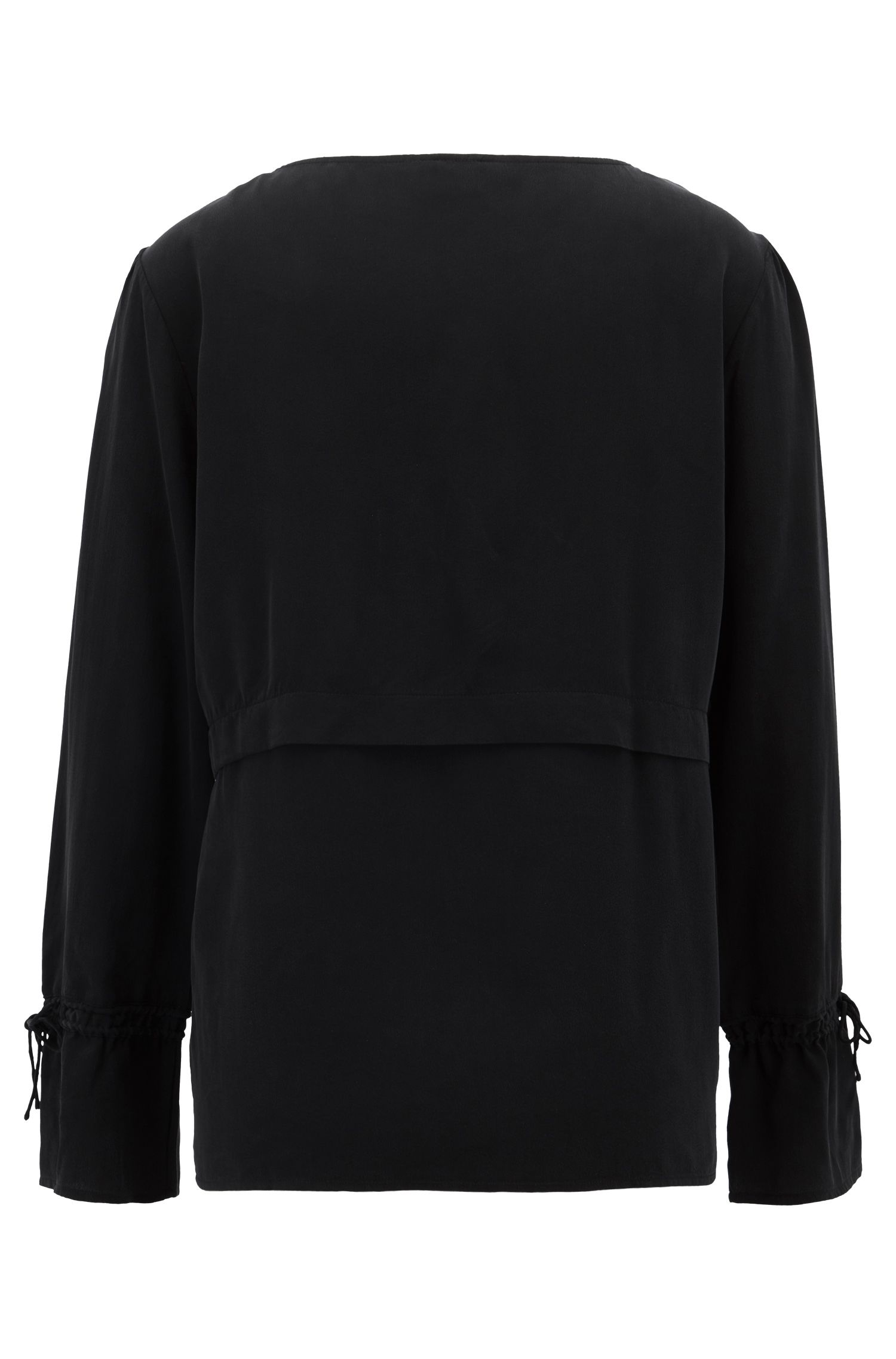 Pleat-front blouse in pure silk with gathered sleeves, Black