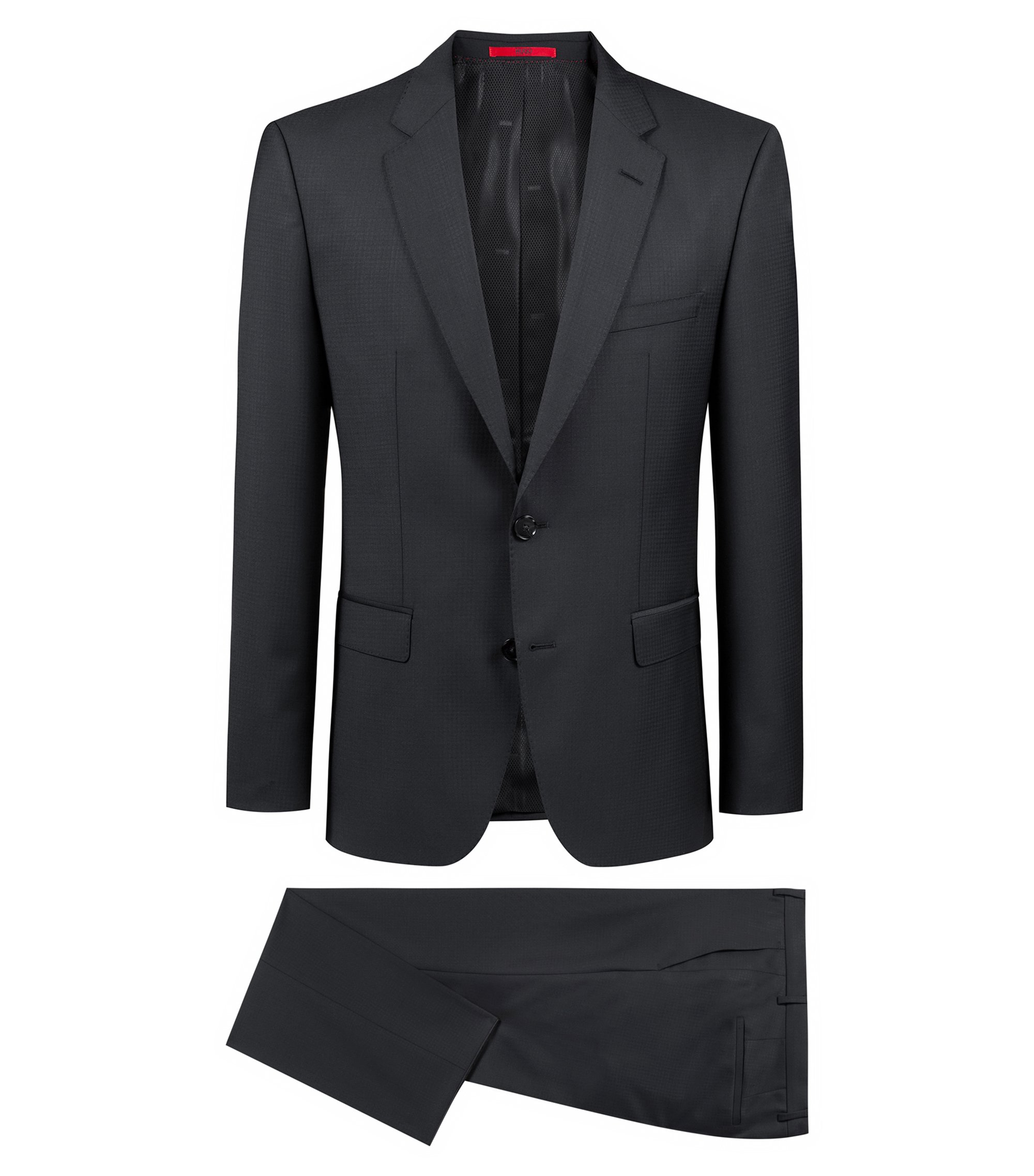 Regular-fit suit in a structured virgin-wool blend, Black