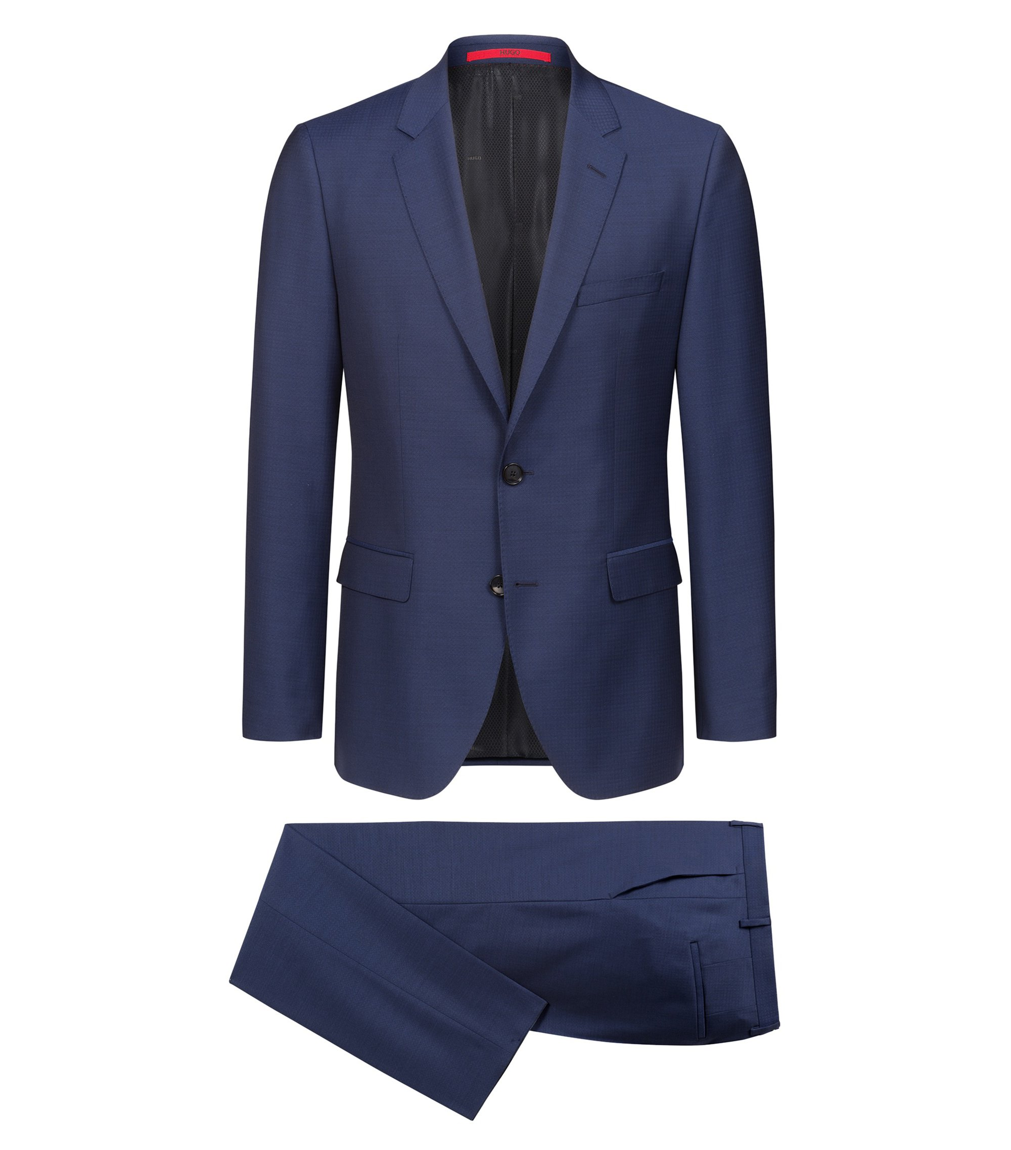 Regular-fit suit in a structured virgin-wool blend, Blue
