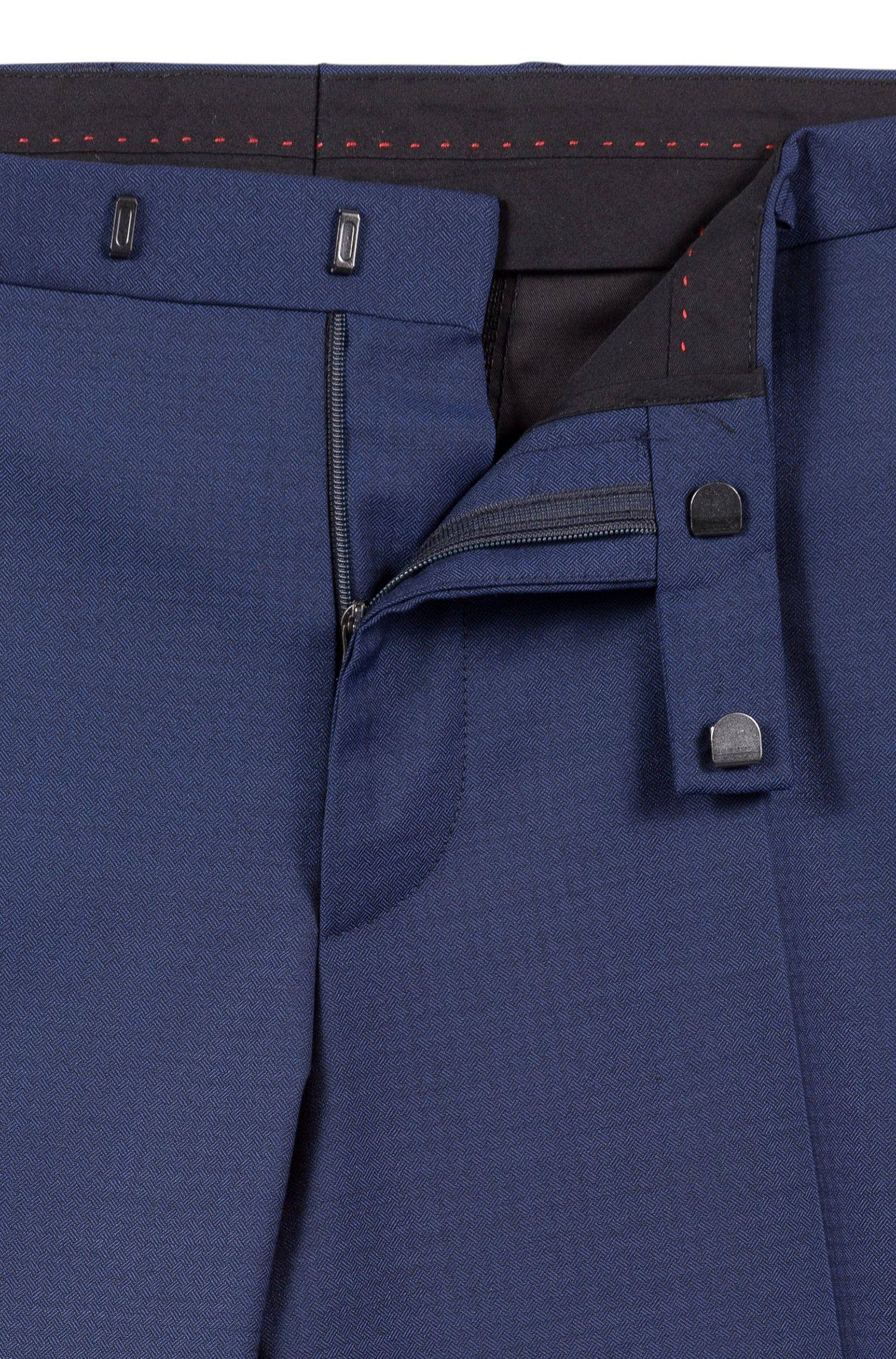 Costume Regular Fit en laine vierge mélangée structurée, Bleu