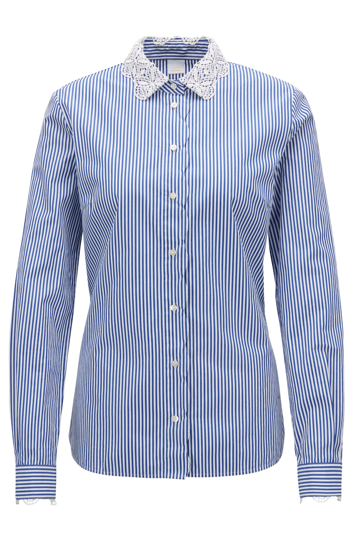 Striped blouse in cotton with lace and scalloping detail, Blue