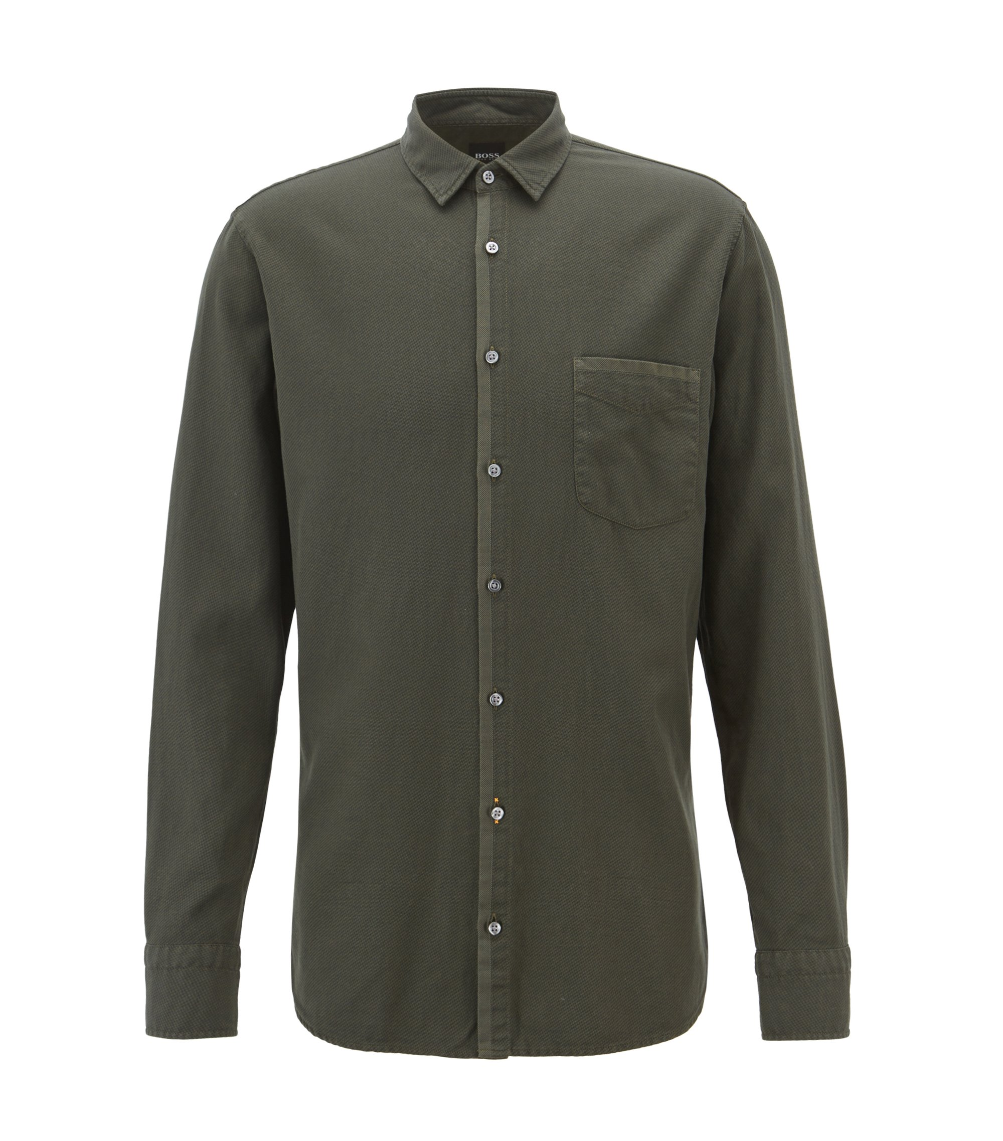 Slim-fit shirt in cotton with overdyed micro structure, Dark Green
