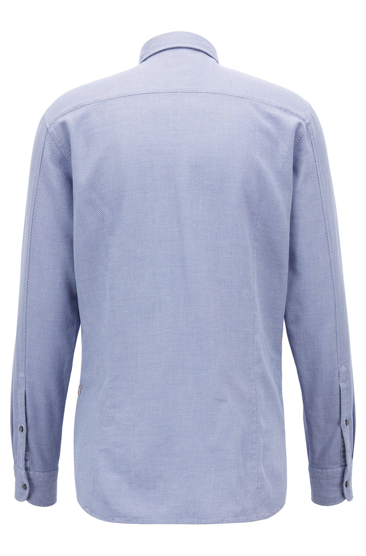 Slim-fit shirt in cotton with overdyed micro structure
