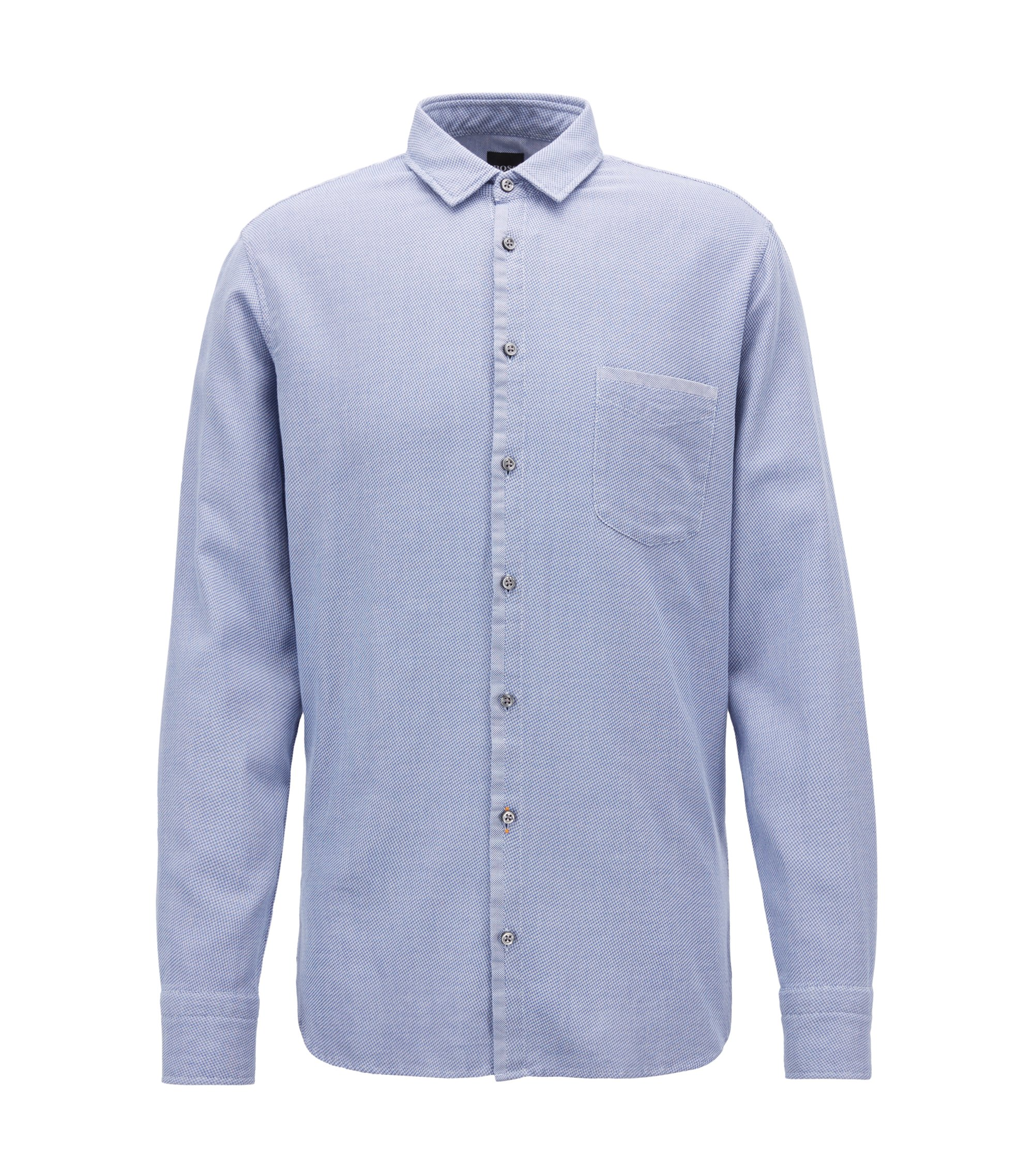 Slim-fit shirt in cotton with overdyed micro structure, Light Blue