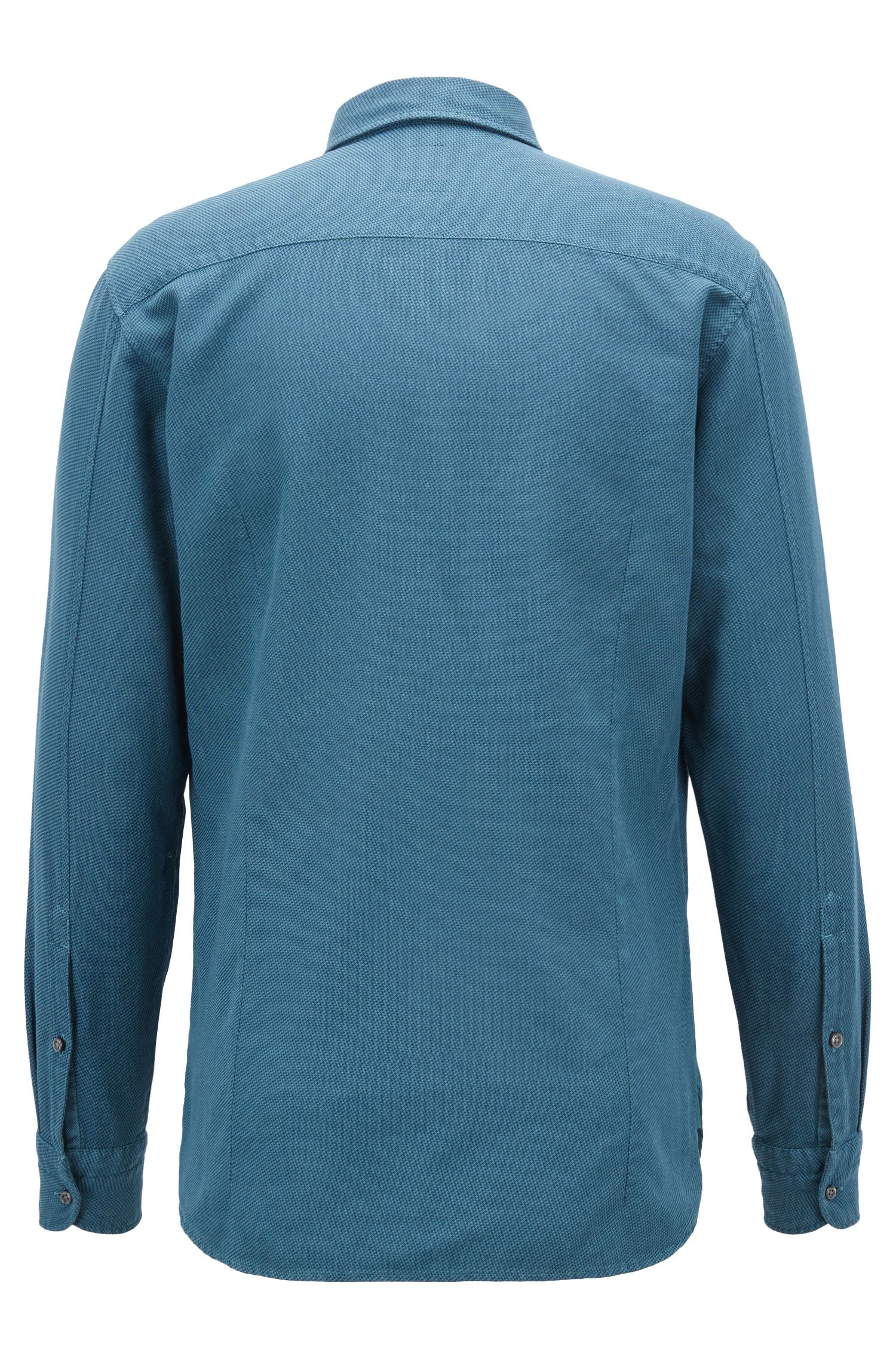 Slim-fit shirt in cotton with overdyed micro structure, Blue