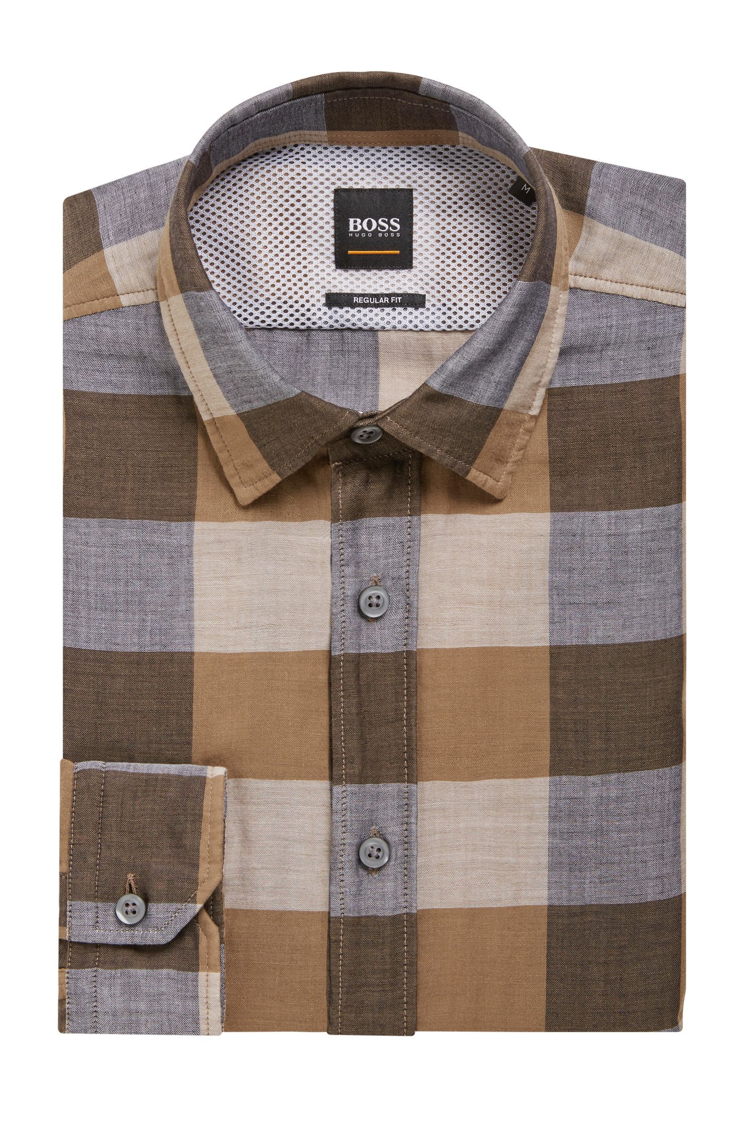Checked shirt in cotton canvas with mesh back yoke, Brown