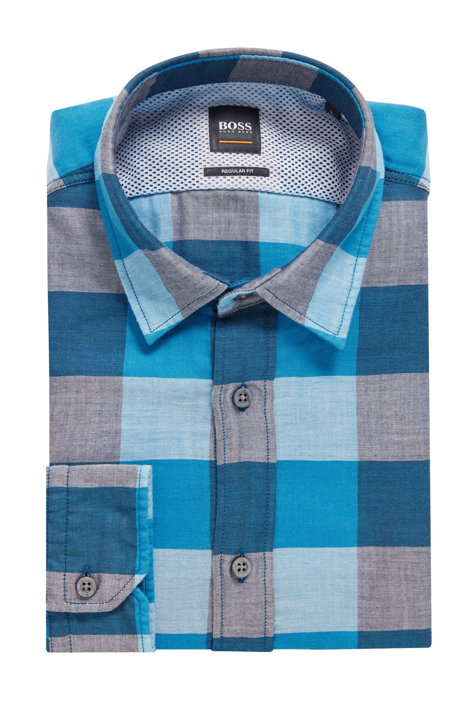 Checked shirt in cotton canvas with mesh back yoke, Turquoise