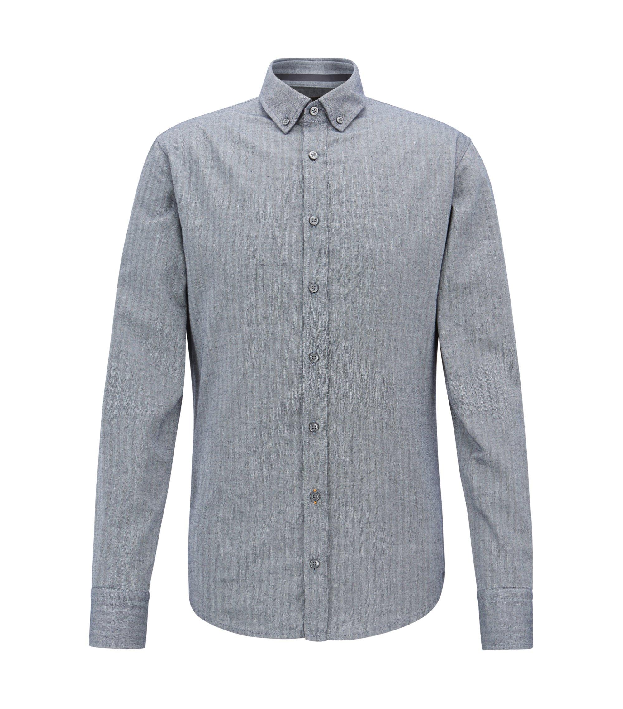 Camisa slim fit en algodón lavado con estructura de espiga, Azul oscuro