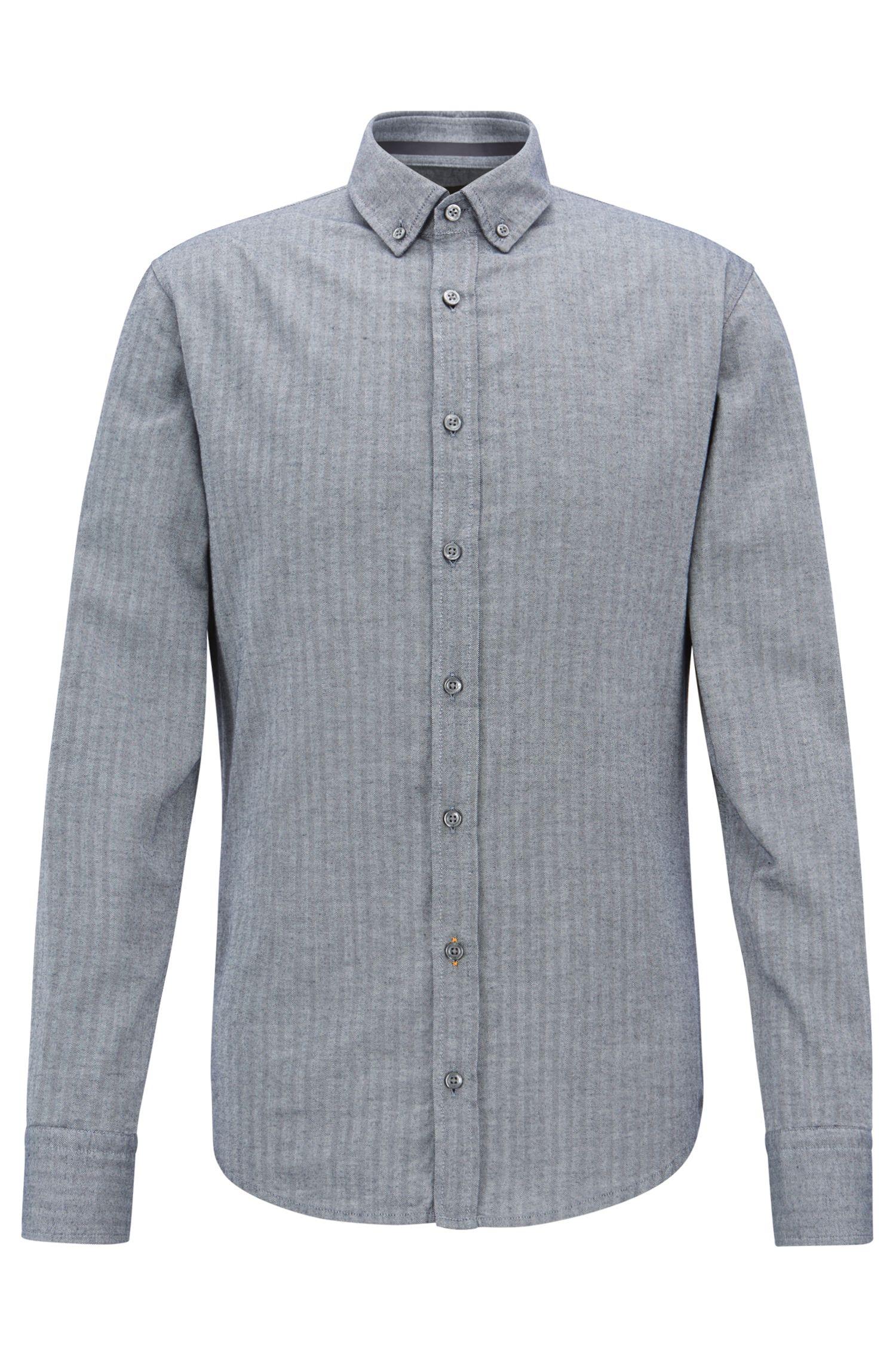 Slim-fit overhemd van gewassen katoen met visgraatstructuur, Donkerblauw