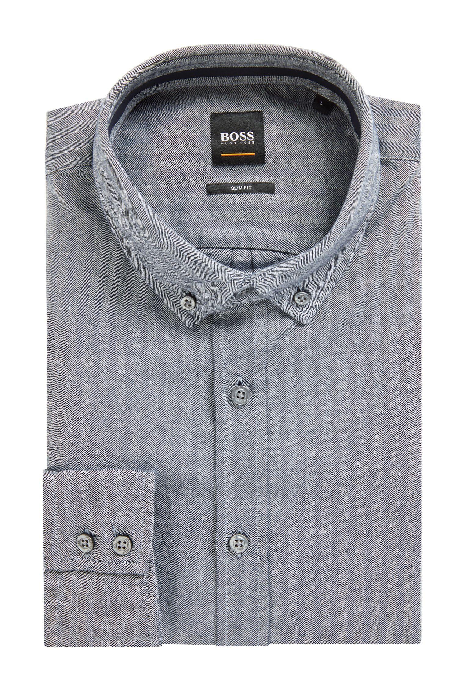 Slim-Fit Hemd aus gewaschener Baumwolle mit Fischgrät-Struktur, Dunkelblau