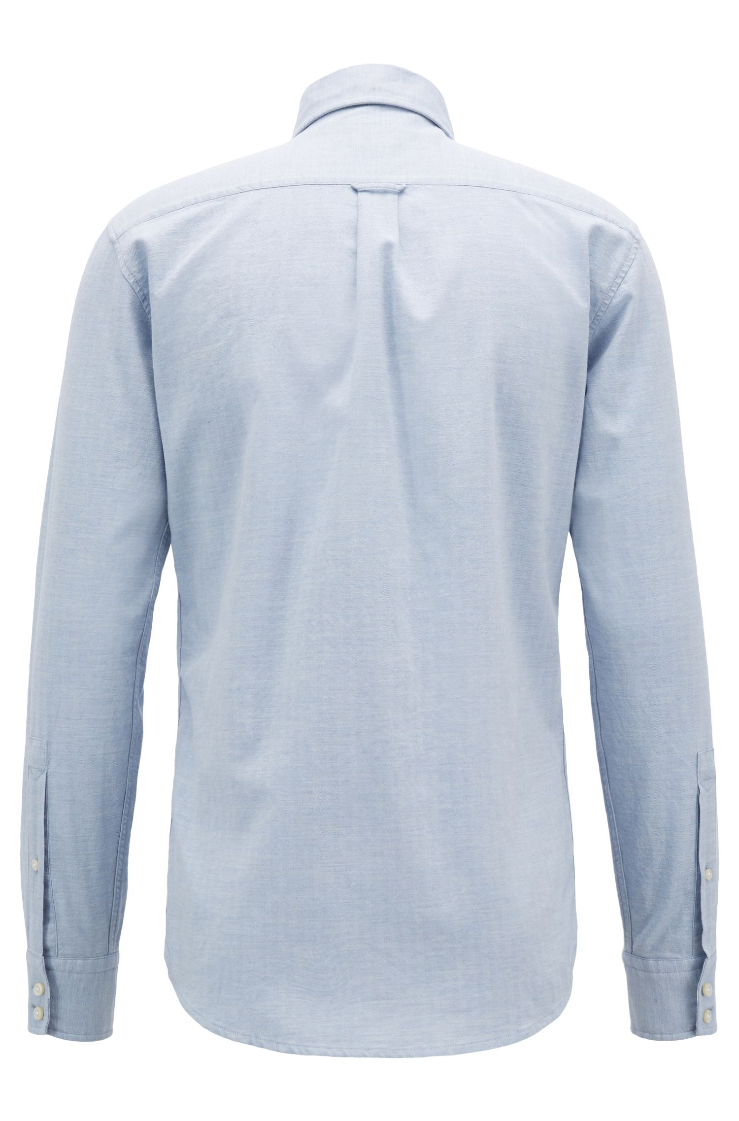 Slim-fit shirt in washed cotton with herringbone structure, Light Blue
