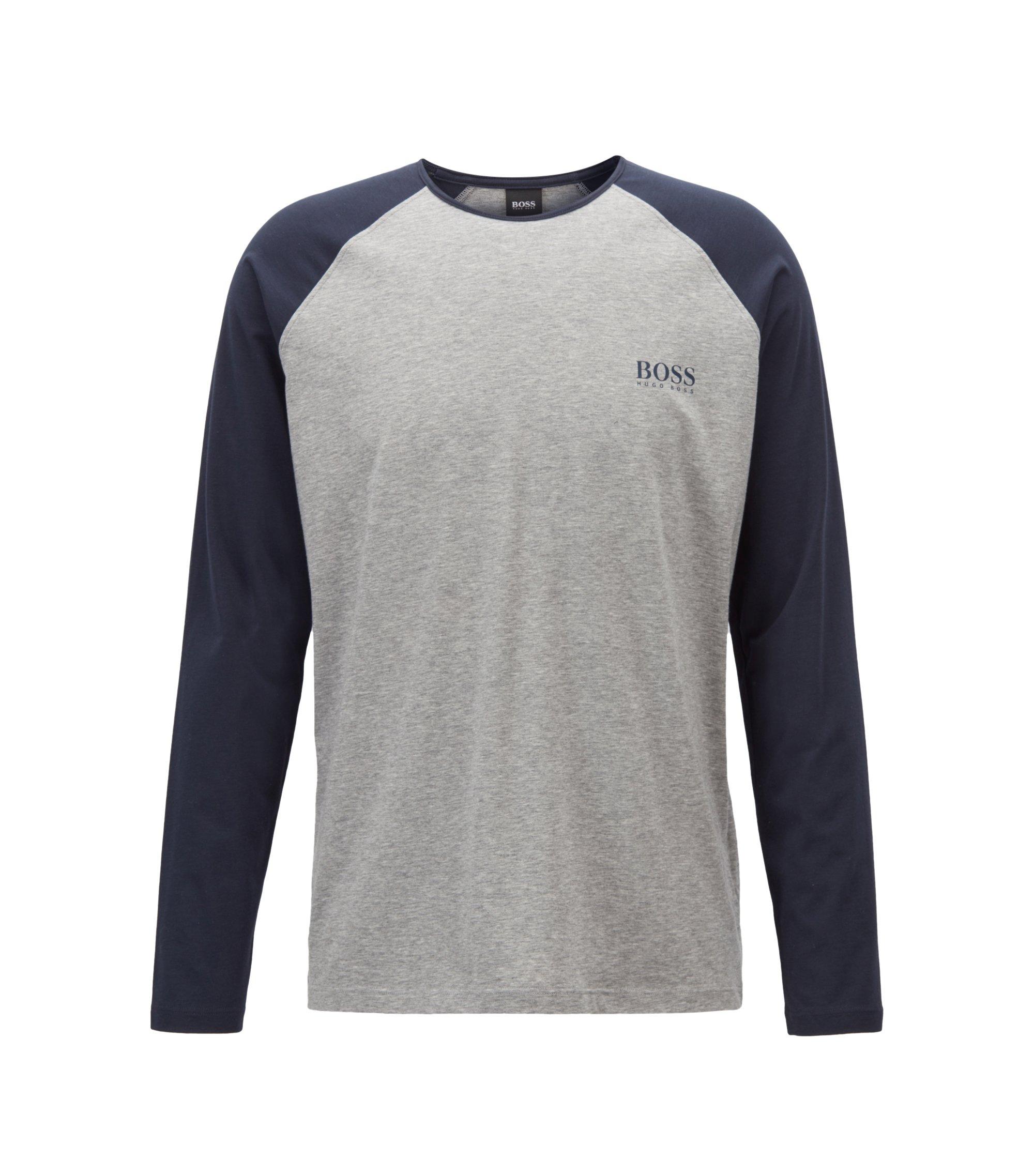 Crew-neck pyjama top with contrast raglan sleeves, Grey