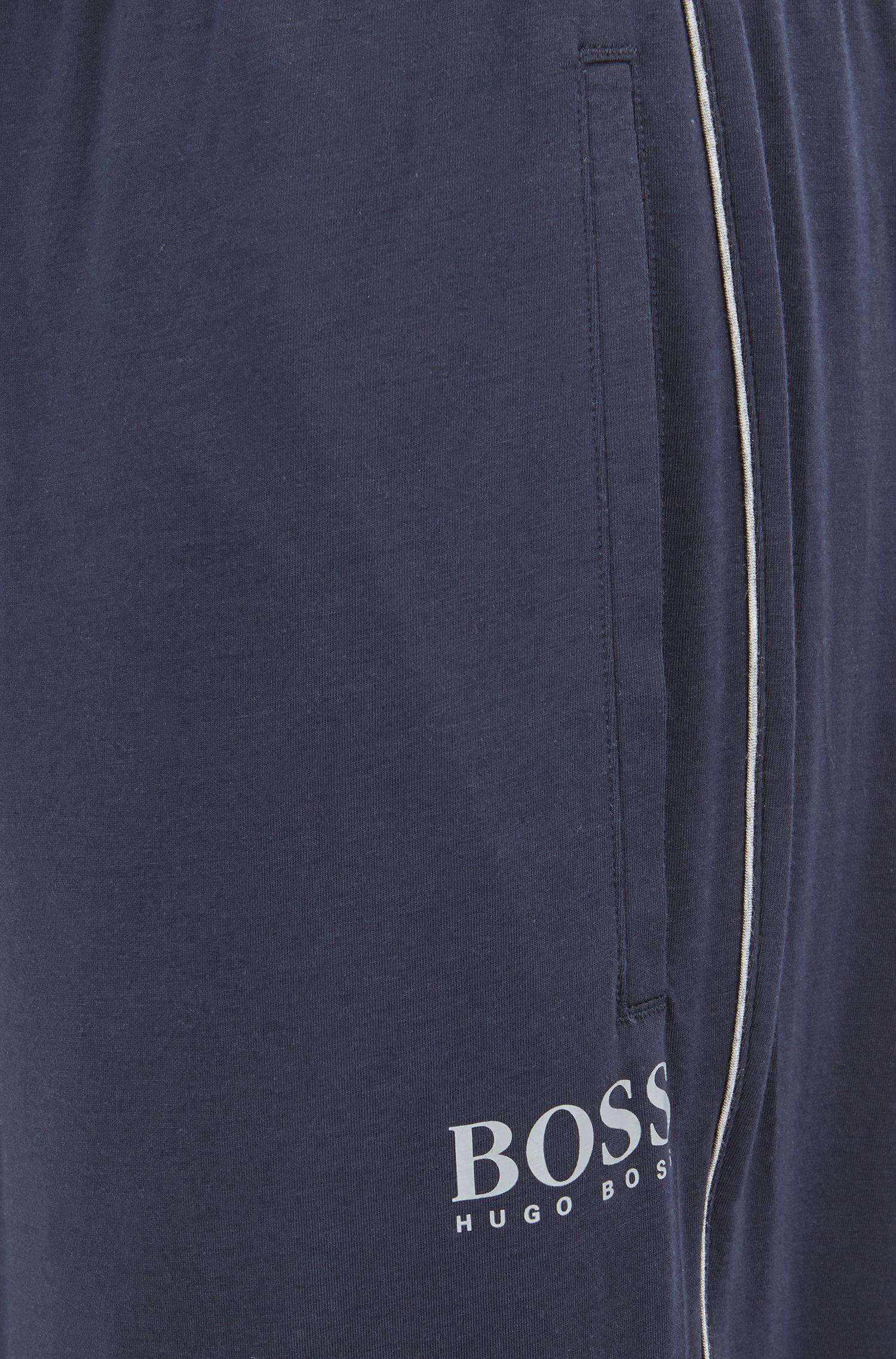 Pyjama-Hose aus Baumwoll-Mix mit Beinbündchen, Dunkelblau