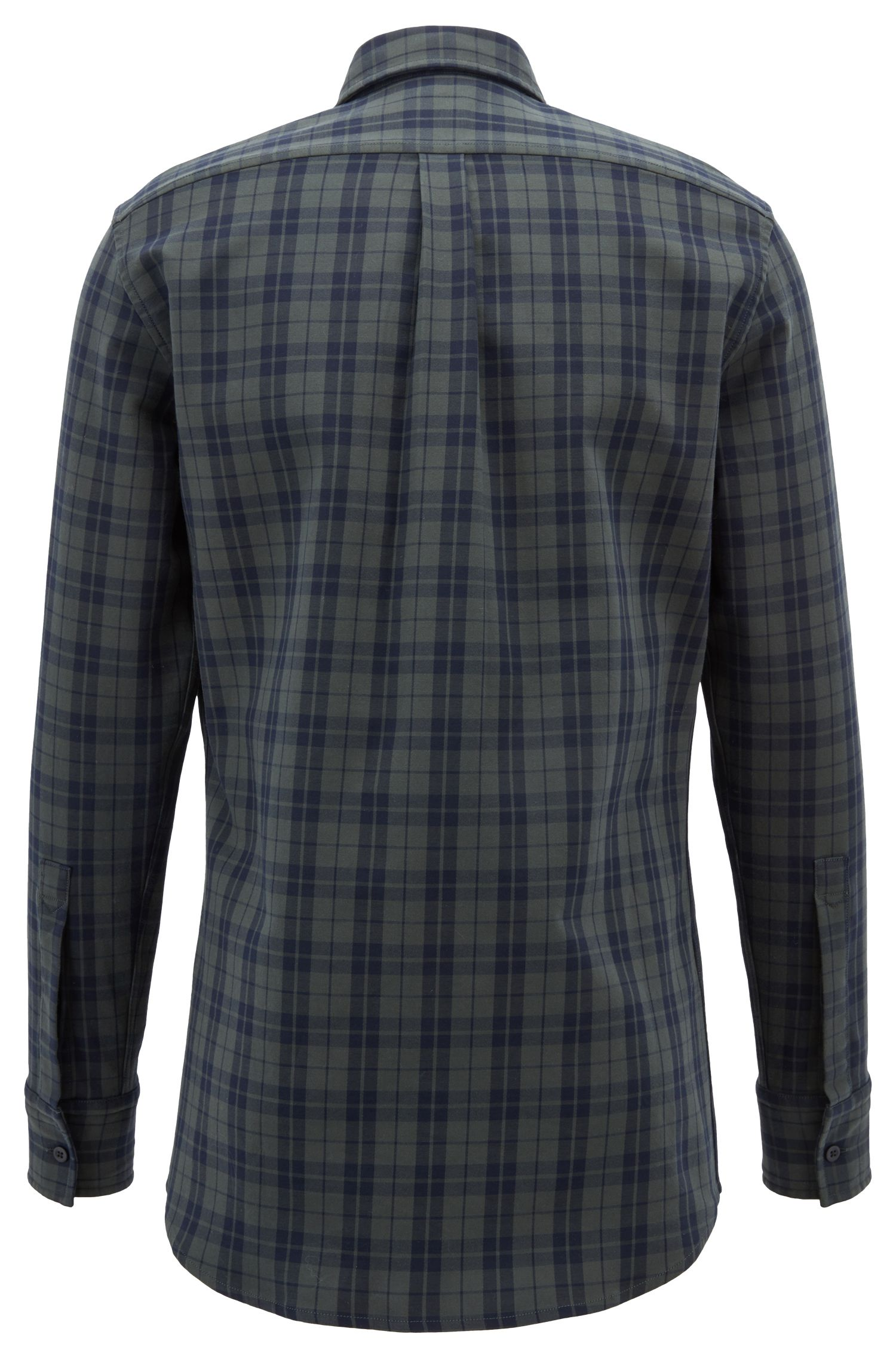 Camicia regular fit in cotone elasticizzato principe di Galles, Verde scuro