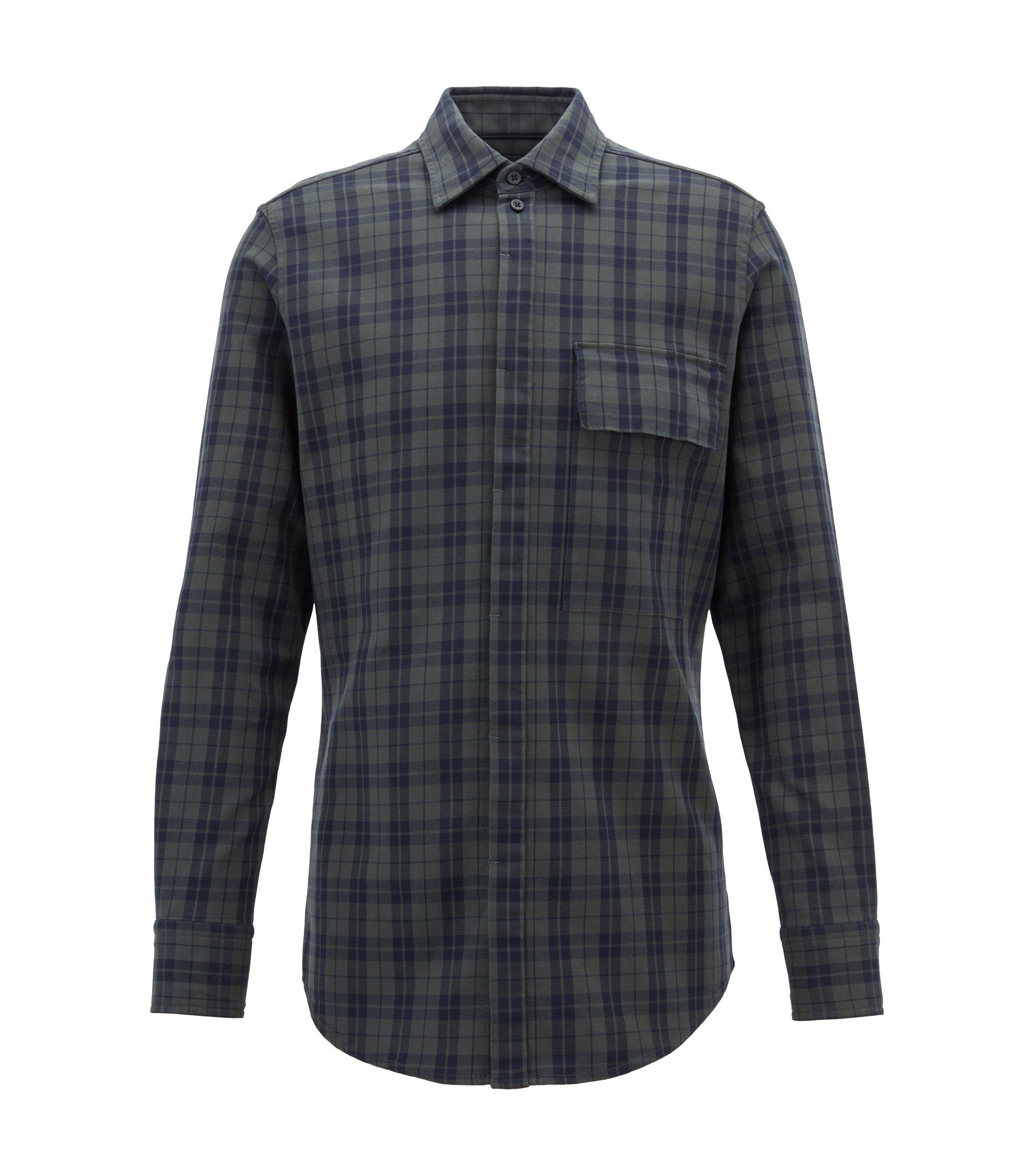 Regular-fit shirt in Glen-check stretch cotton, Dark Green