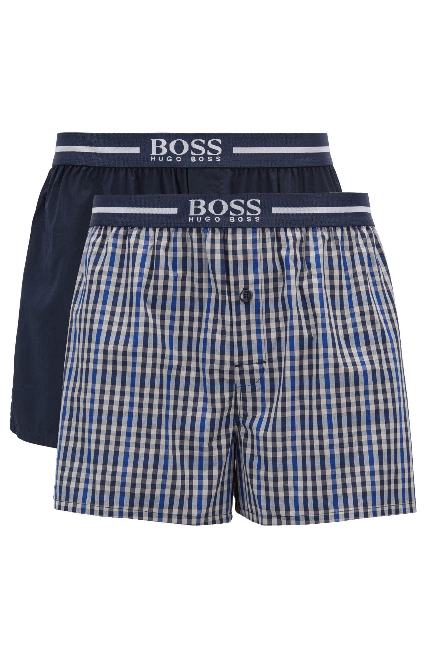 Zweier-Pack Pyjama-Shorts aus Baumwolle mit Logo-Schriftzug am Bund