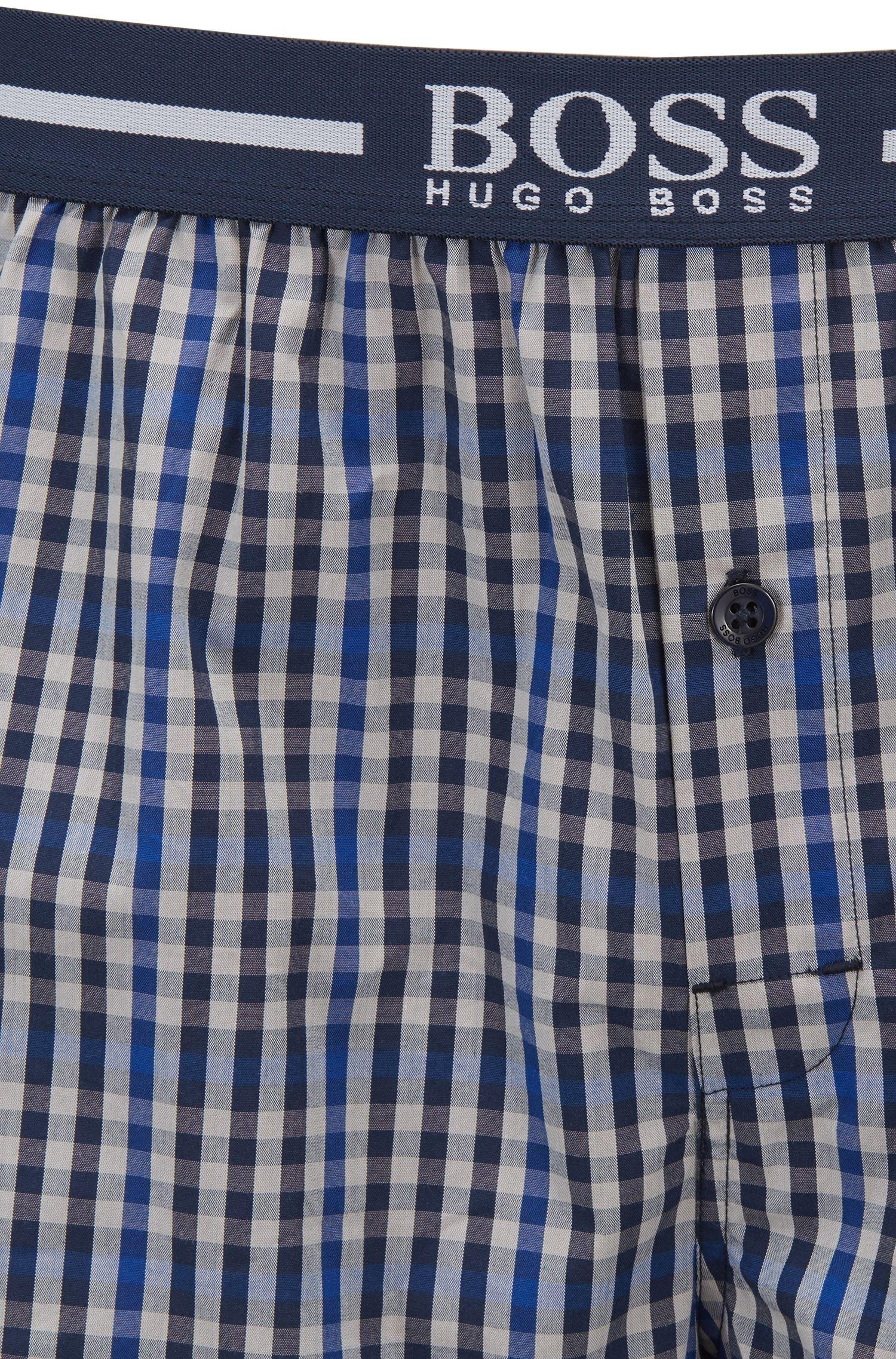 Set van twee pyjamashorts van katoen met logo op de tailleband, Blauw